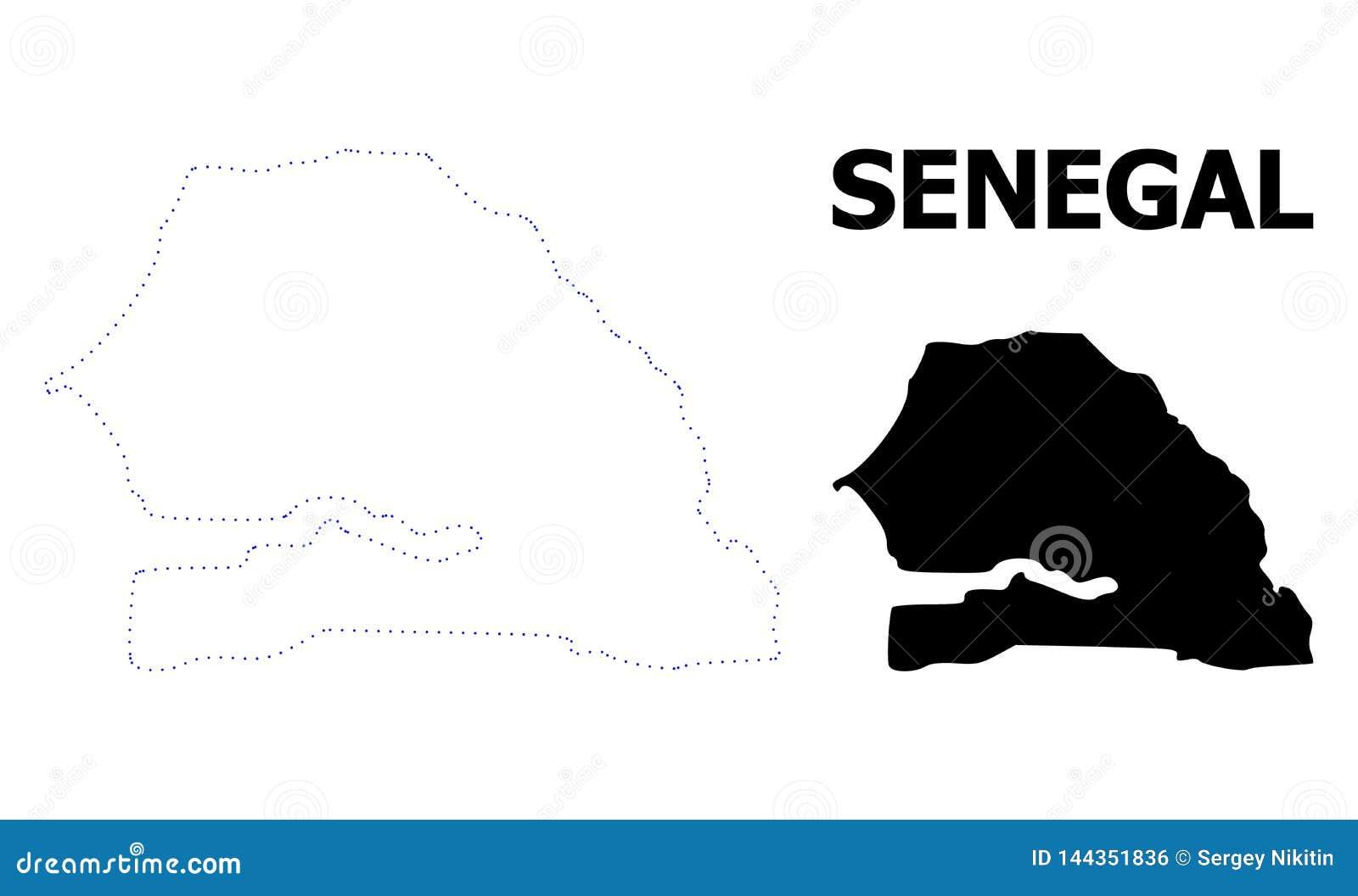 Carte pointillée par découpe de vecteur du Sénégal avec la légende