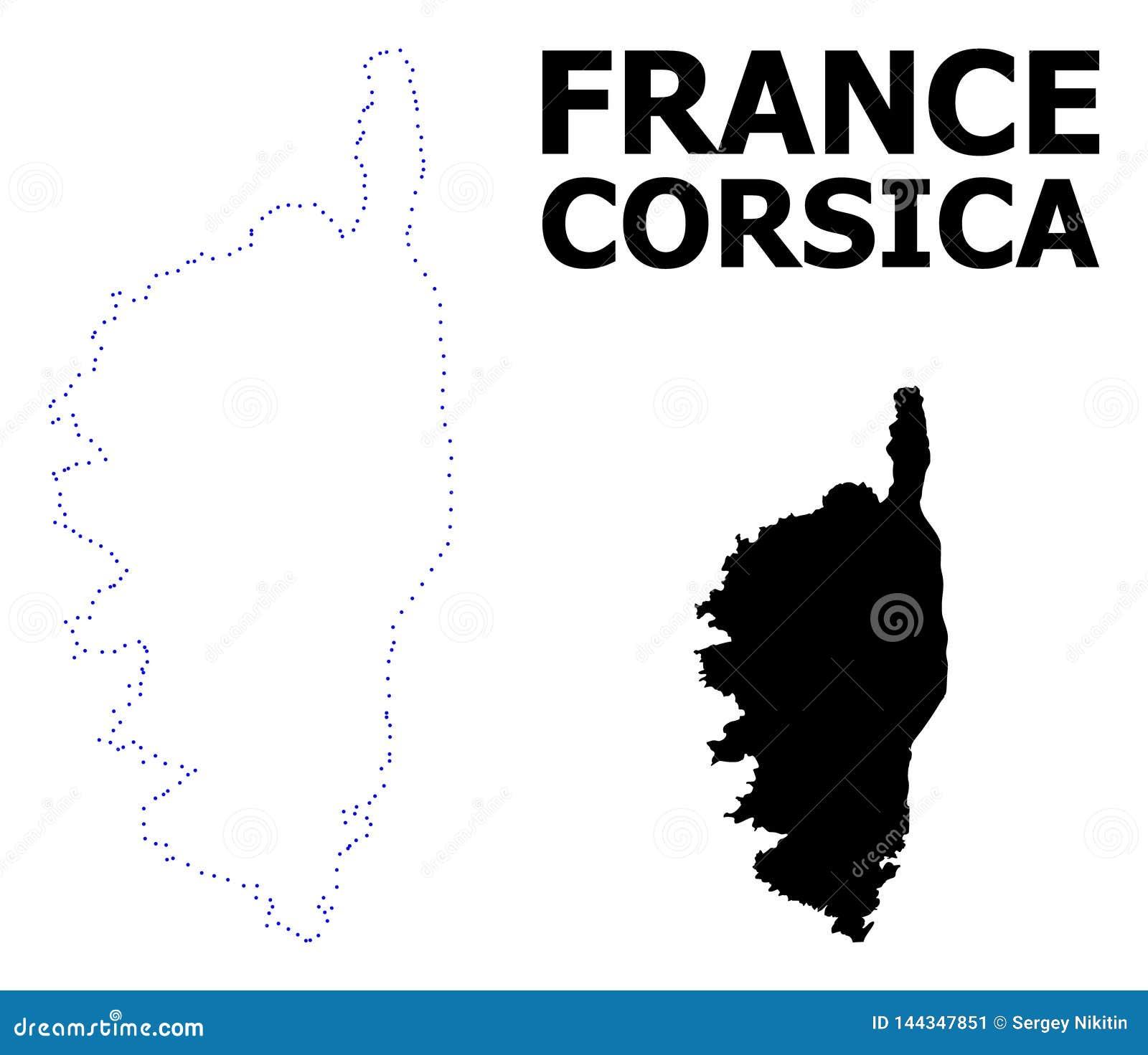 Carte Corse Fond Blanc.Carte Pointill E Par D Coupe De Vecteur De La Corse Avec Le