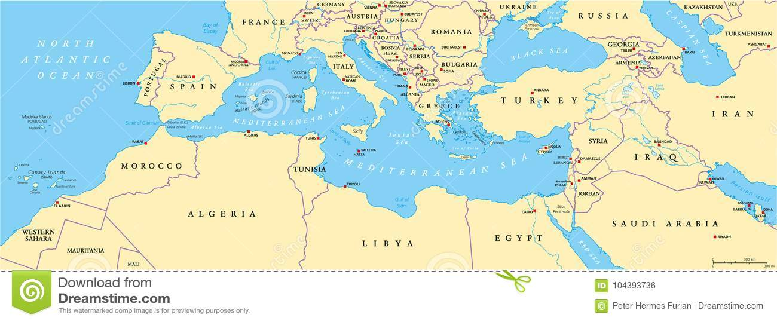 Carte politique de bassin méditerranéen