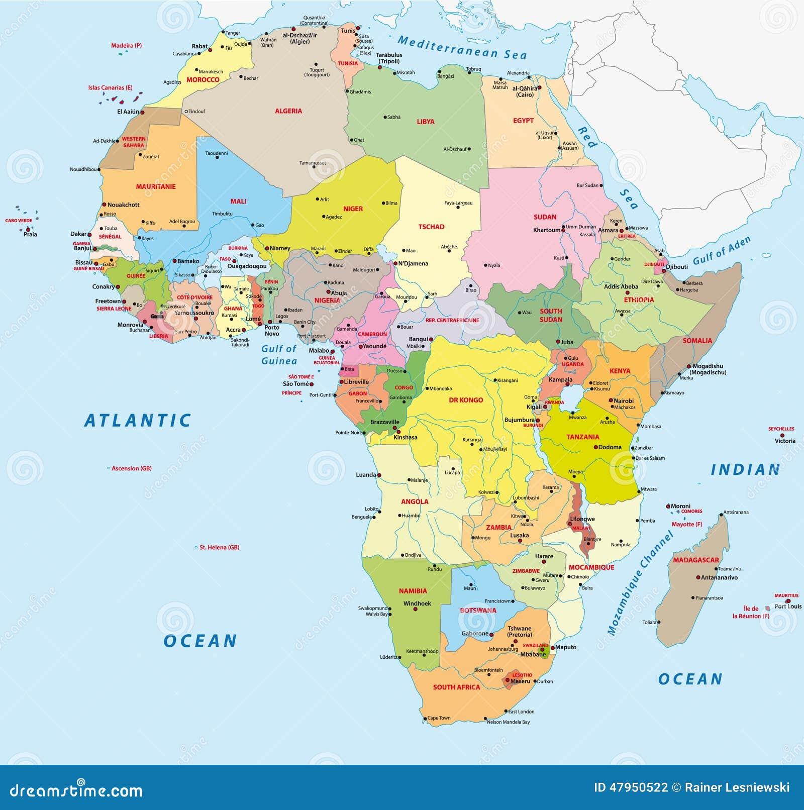 Carte Politique De Lafrique Centrale.Carte Politique De L Afrique Illustration De Vecteur