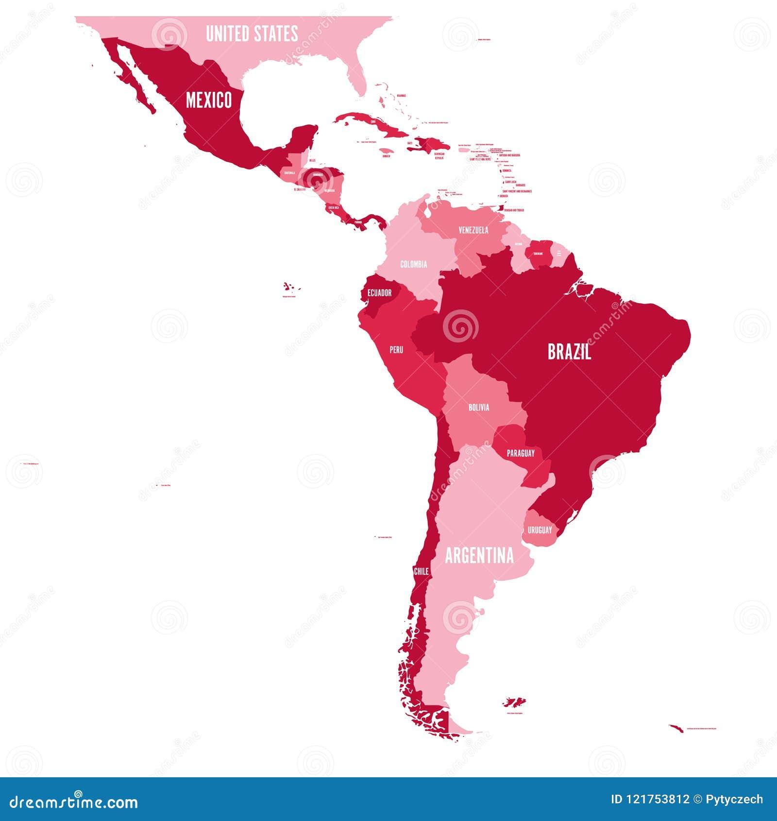 Carte politique de l Amérique latine Carte plate simple de vecteur avec des labels de nom du pays à quatre nuances de rouge foncé