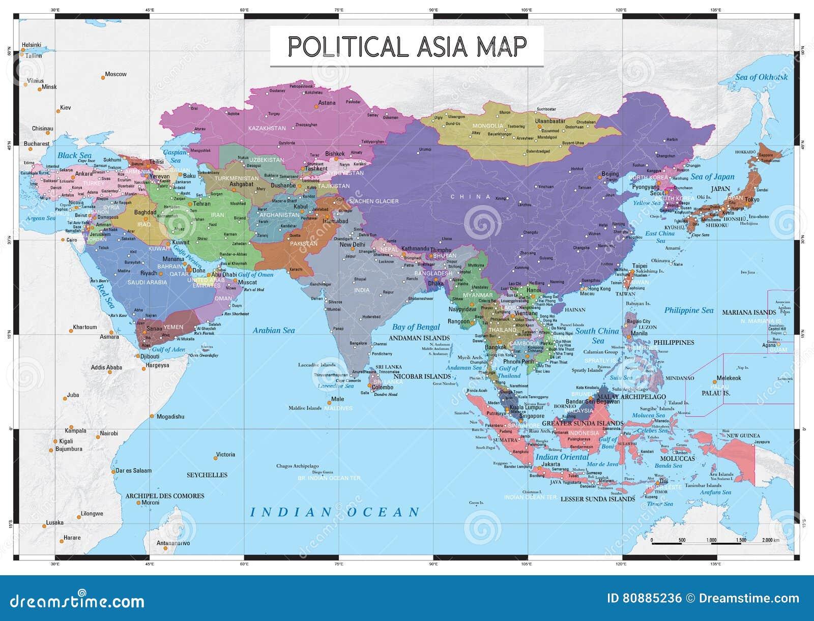 Carte De Toute Lasie.Carte Politique De L Asie Illustration De Vecteur