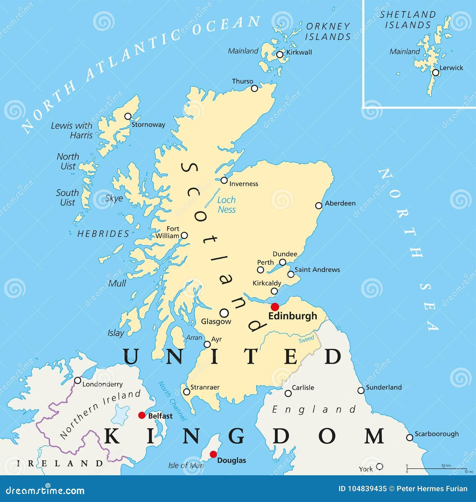 Carte Angleterre Ecosse.Carte Politique De L Ecosse Illustration De Vecteur Illustration