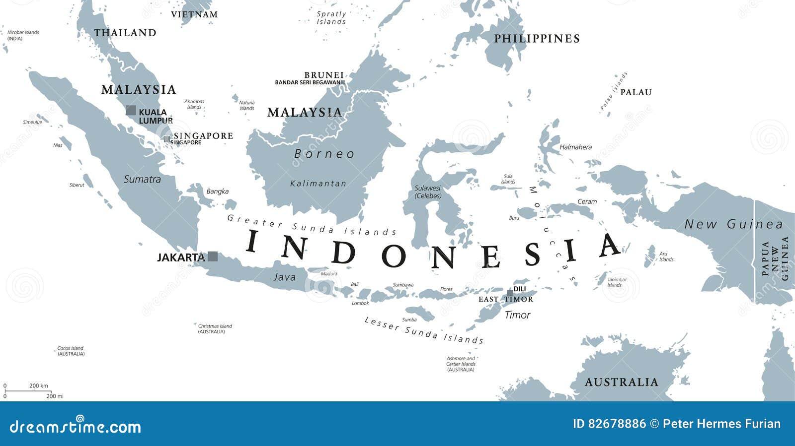 Carte Asie Malaisie Indonesie.Carte Politique De L Indonesie Illustration De Vecteur