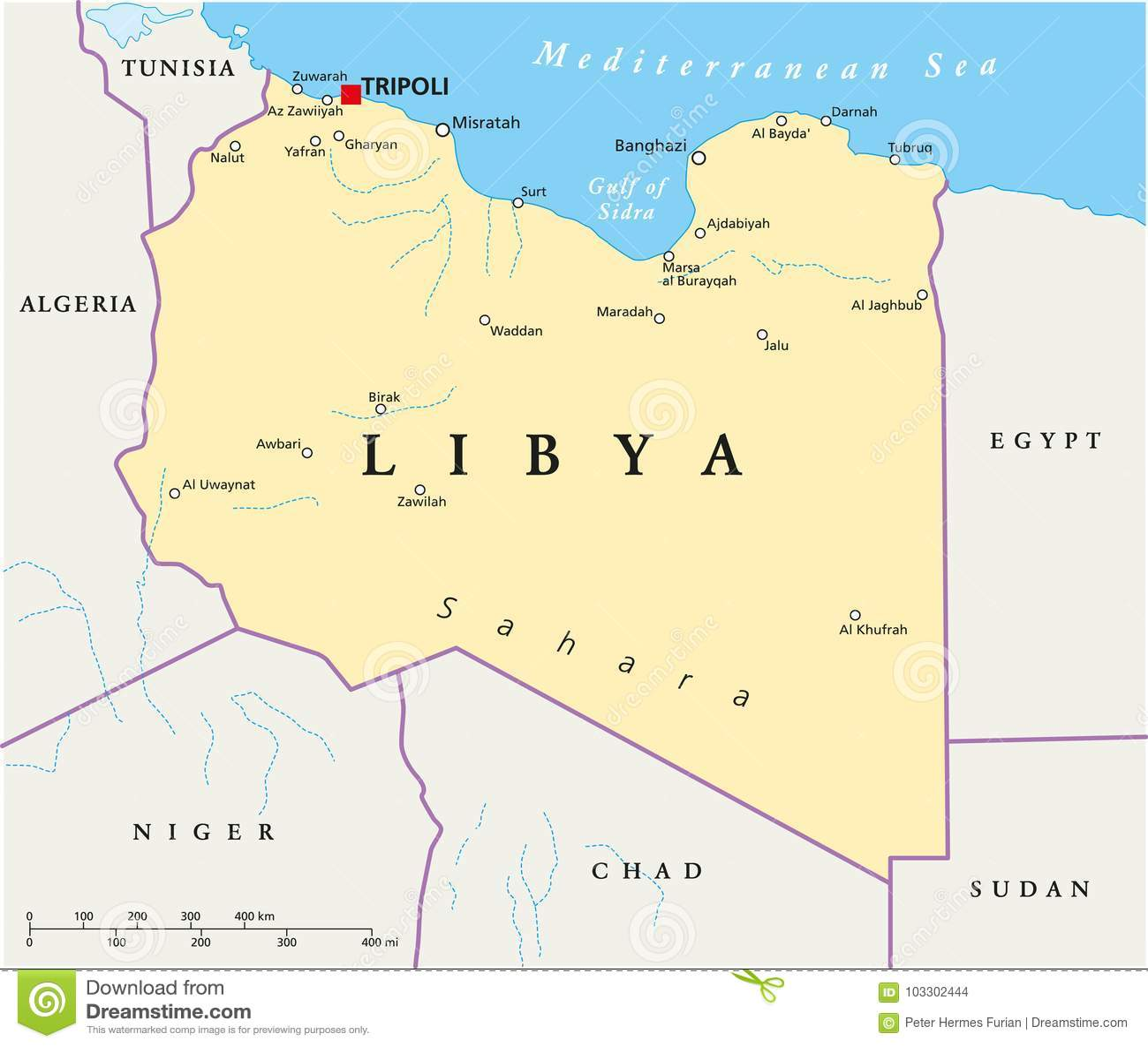 Carte Algerie Libye.Carte Politique De La Libye Illustration De Vecteur