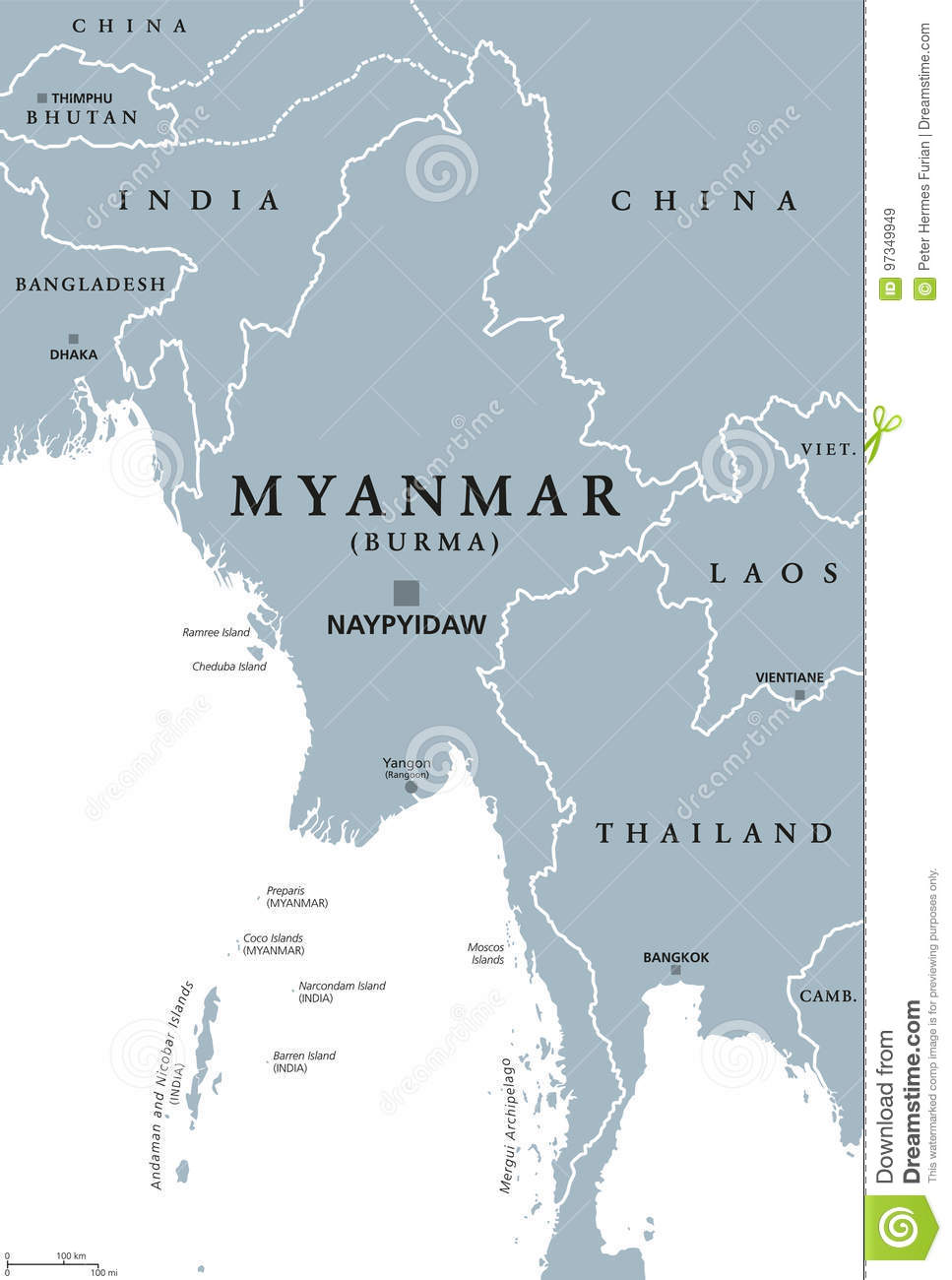 Birmanie Capitale Carte.Carte Politique De Myanmar Birmanie Illustration De Vecteur