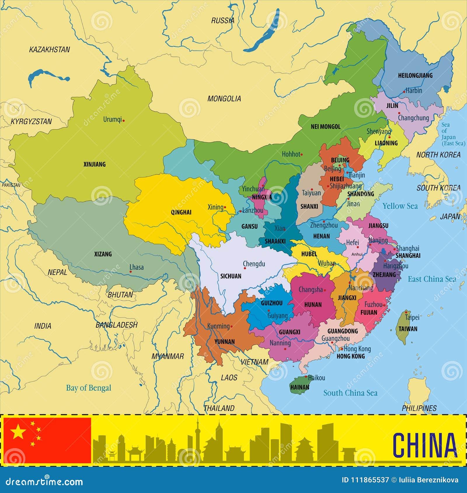 Carte Chine Hunan.Carte Politique De Vecteur De La Chine Avec Des Regions Illustration