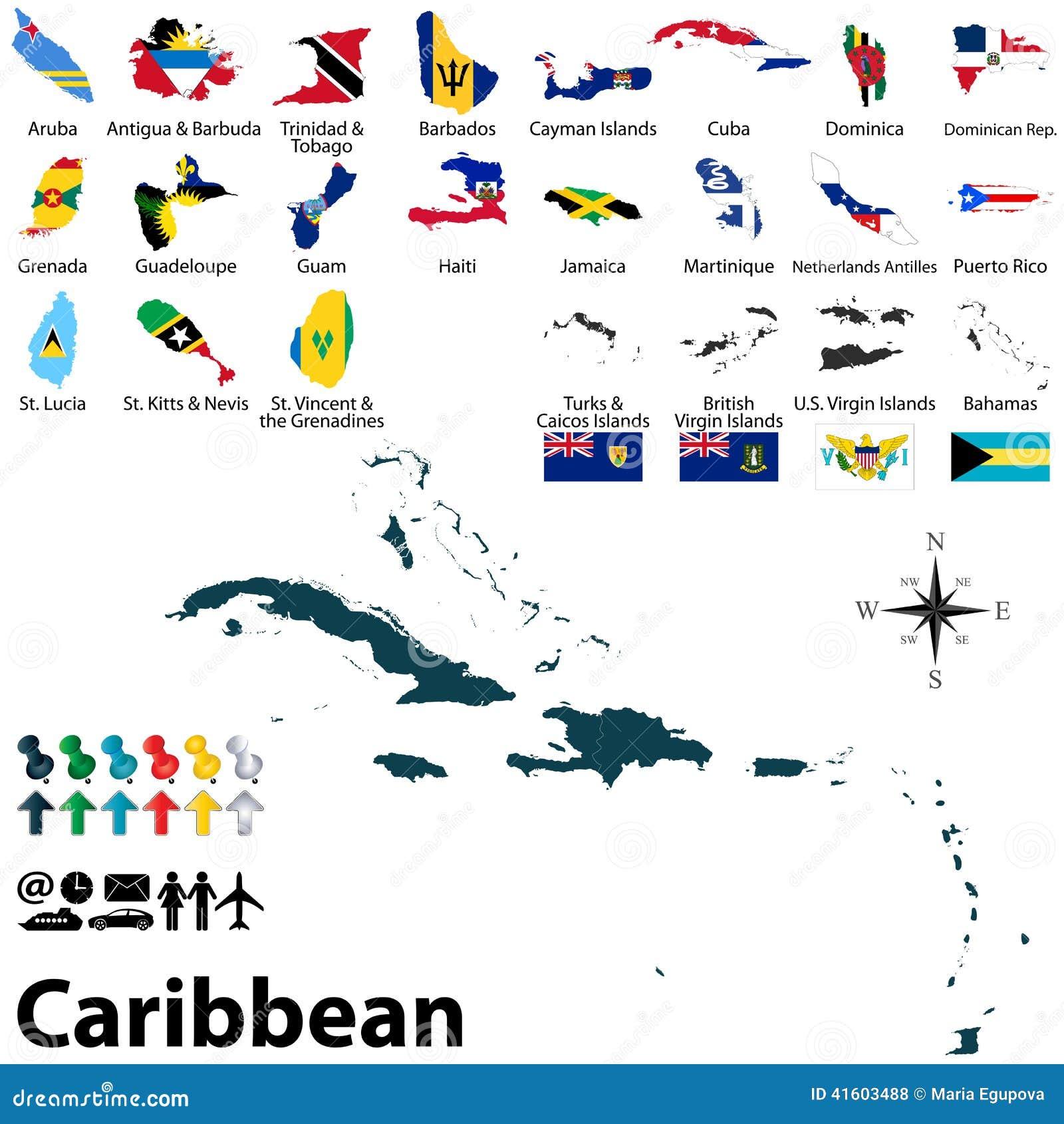 Carte Politique Des Caraïbe Illustration de Vecteur ...