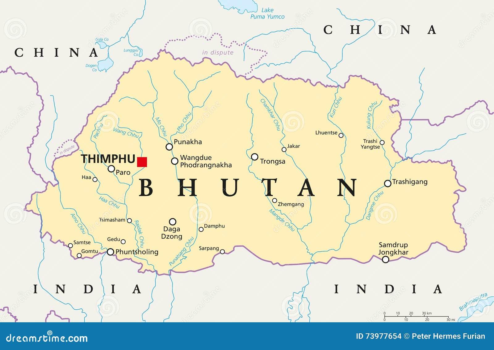 Carte Politique Du Bhutan Illustration De Vecteur