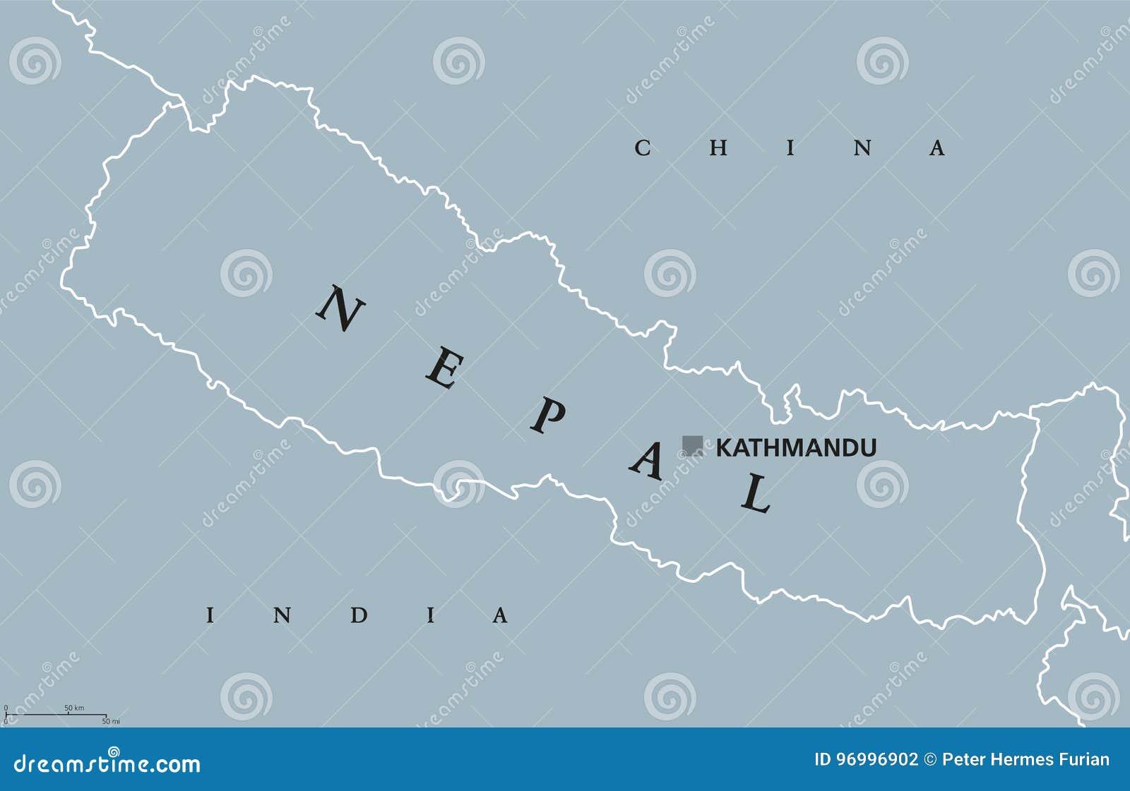 Carte Politique Du Népal Illustration De Vecteur