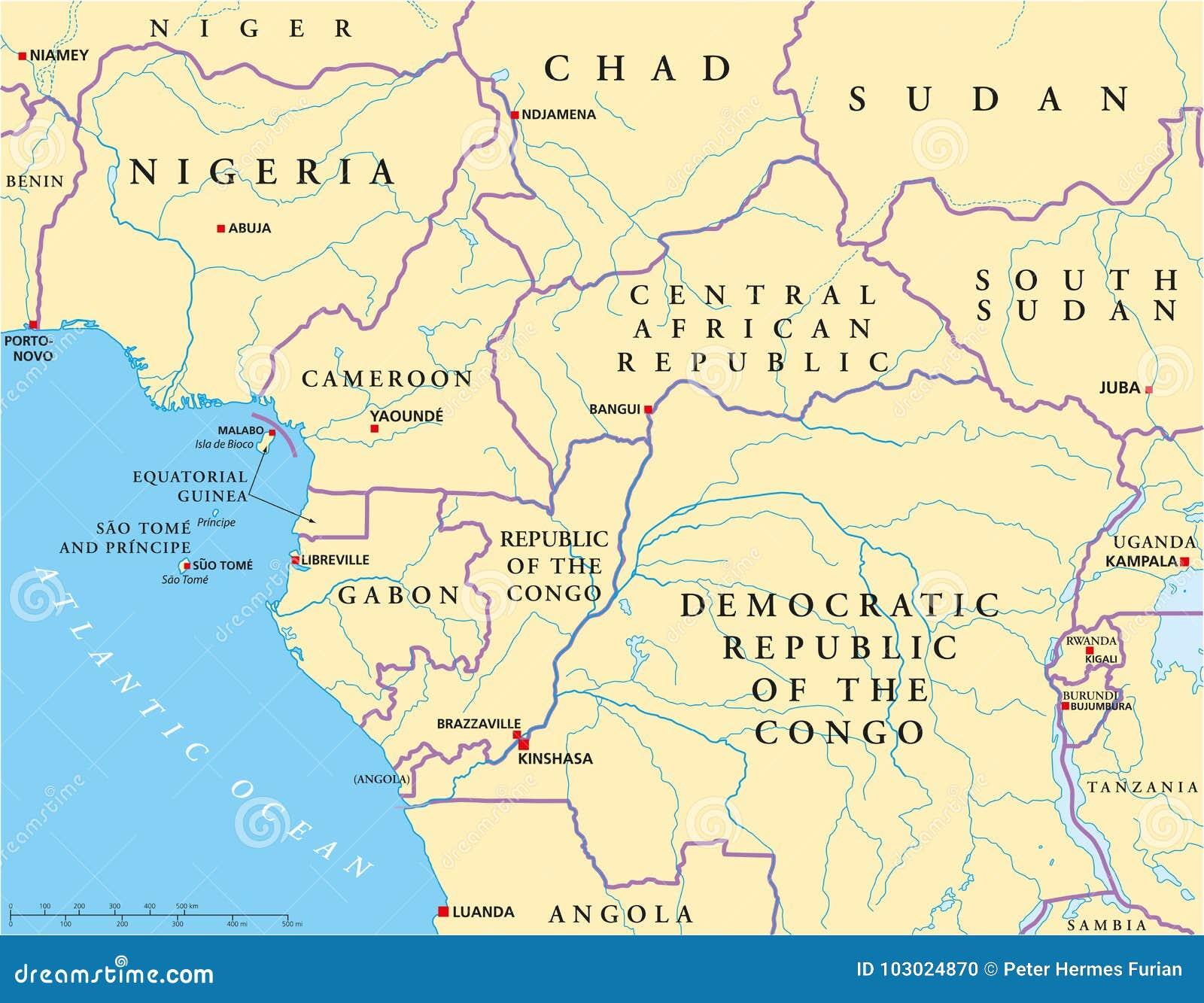 Carte Politique De Lafrique Centrale.Carte Politique Occidentale De L Afrique Centrale
