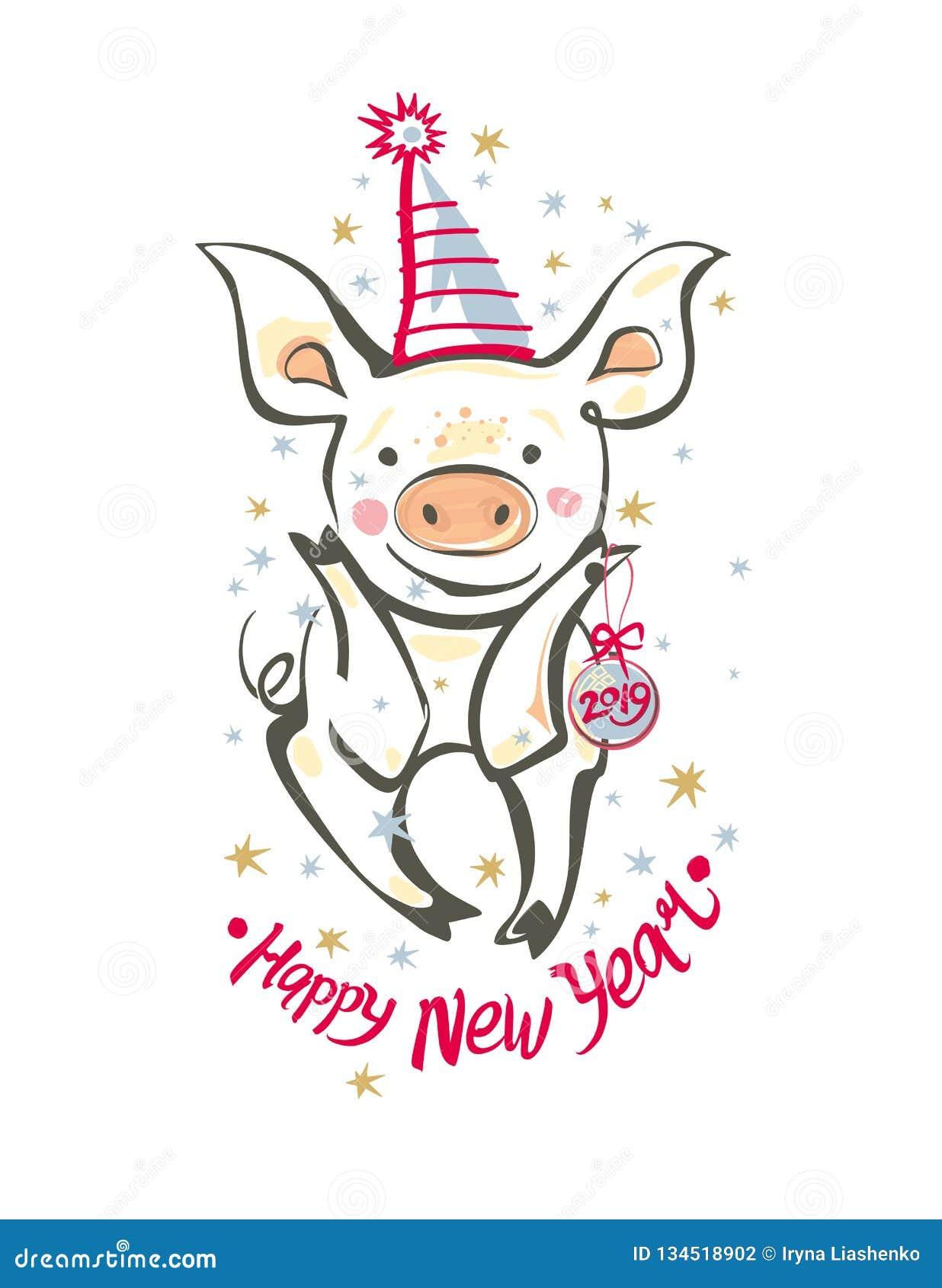 Carte postale avec le porc drôle pendant un chapeau de vacances et 2019 bonnes années