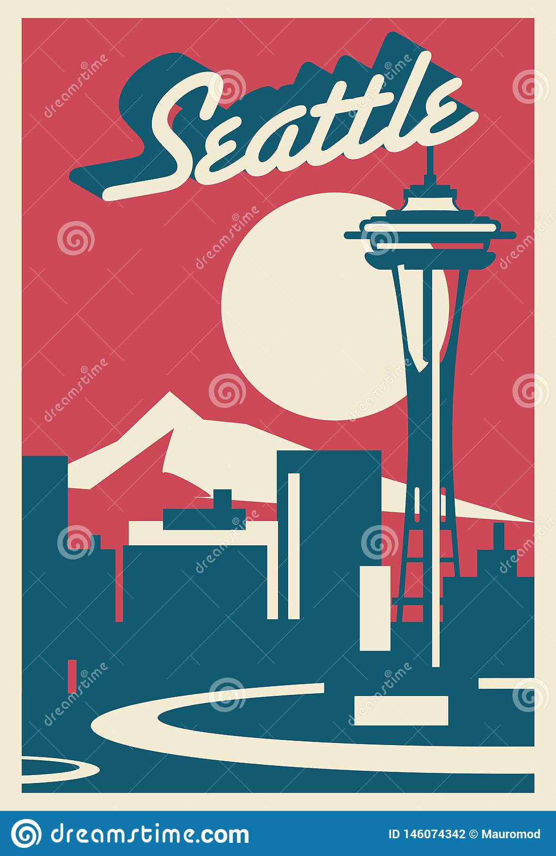 Carte postale d horizon de Seattle