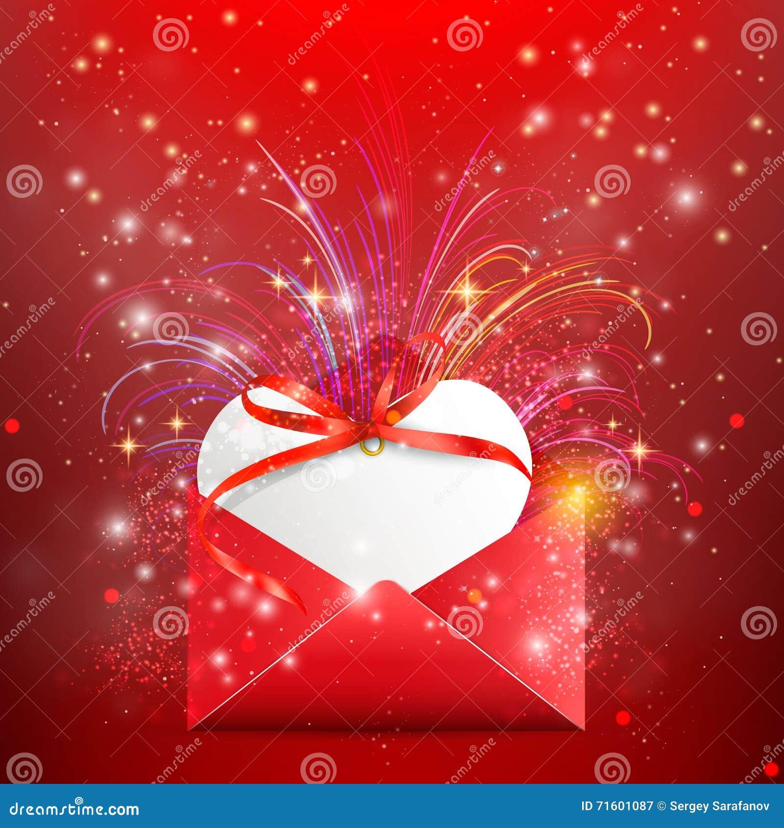 Carte postale de cadeau lettre avec le coeur lettre d 39 amour coeur de valentines illustration - Carte d amour ...