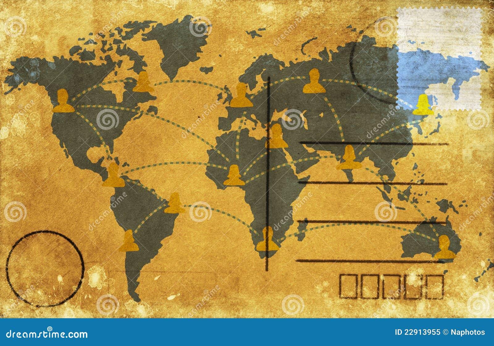 carte postale de carte du monde illustration stock illustration du ge grunge 22913955. Black Bedroom Furniture Sets. Home Design Ideas