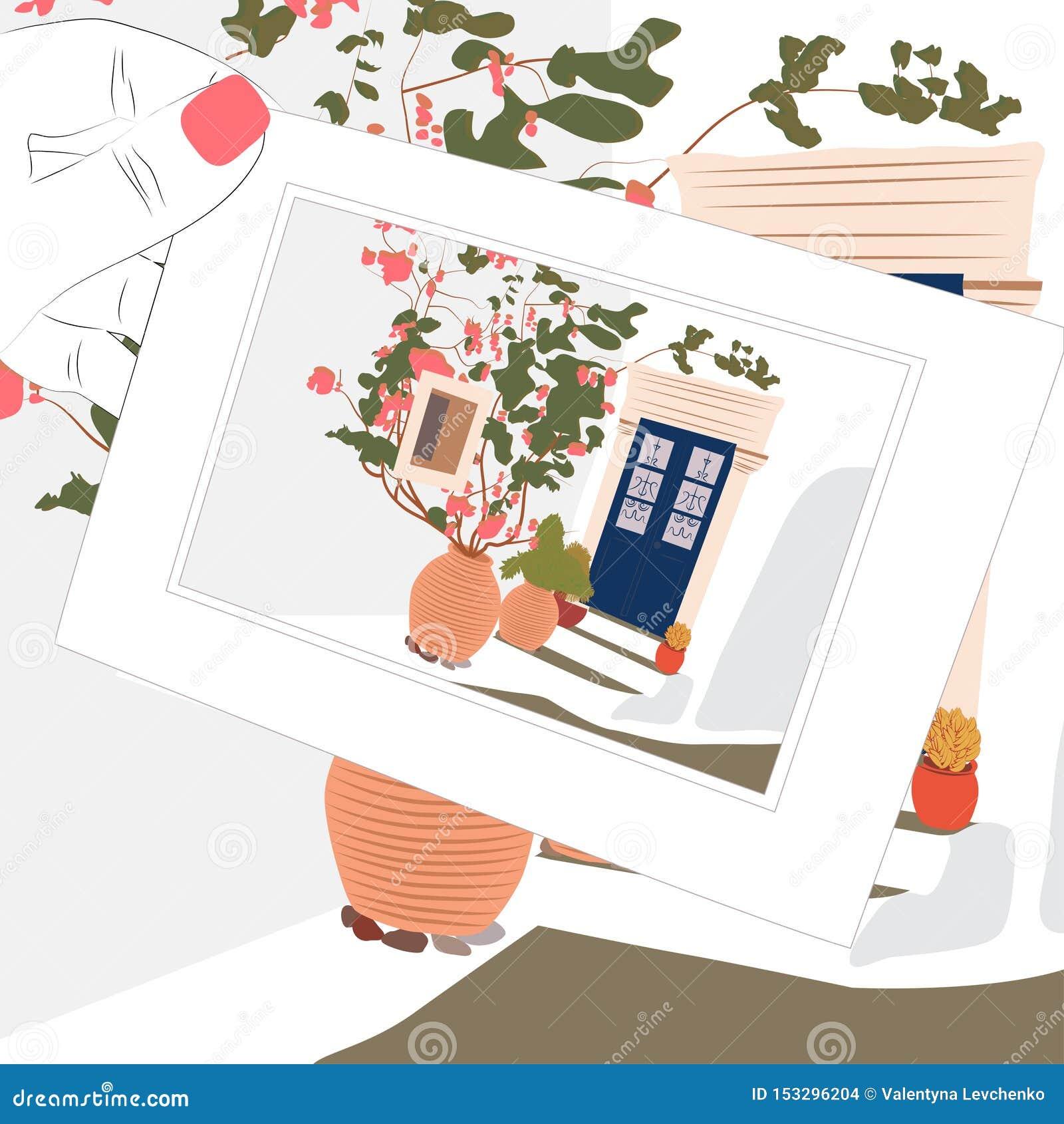 Carte postale de croquis de cru, maison de la Grèce et fleurs