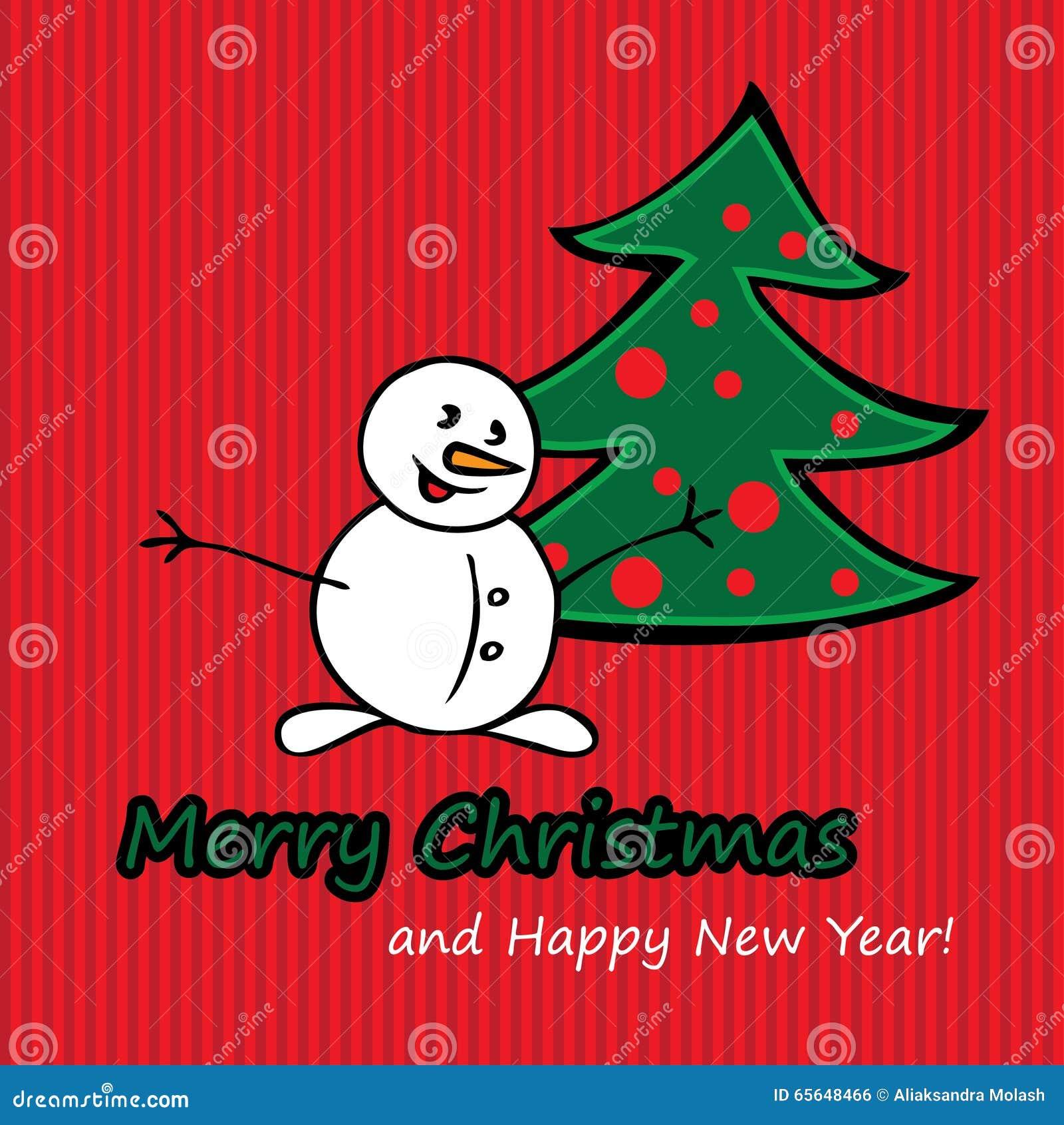 Carte postale de Joyeux Noël avec le sapin et le bonhomme de neige