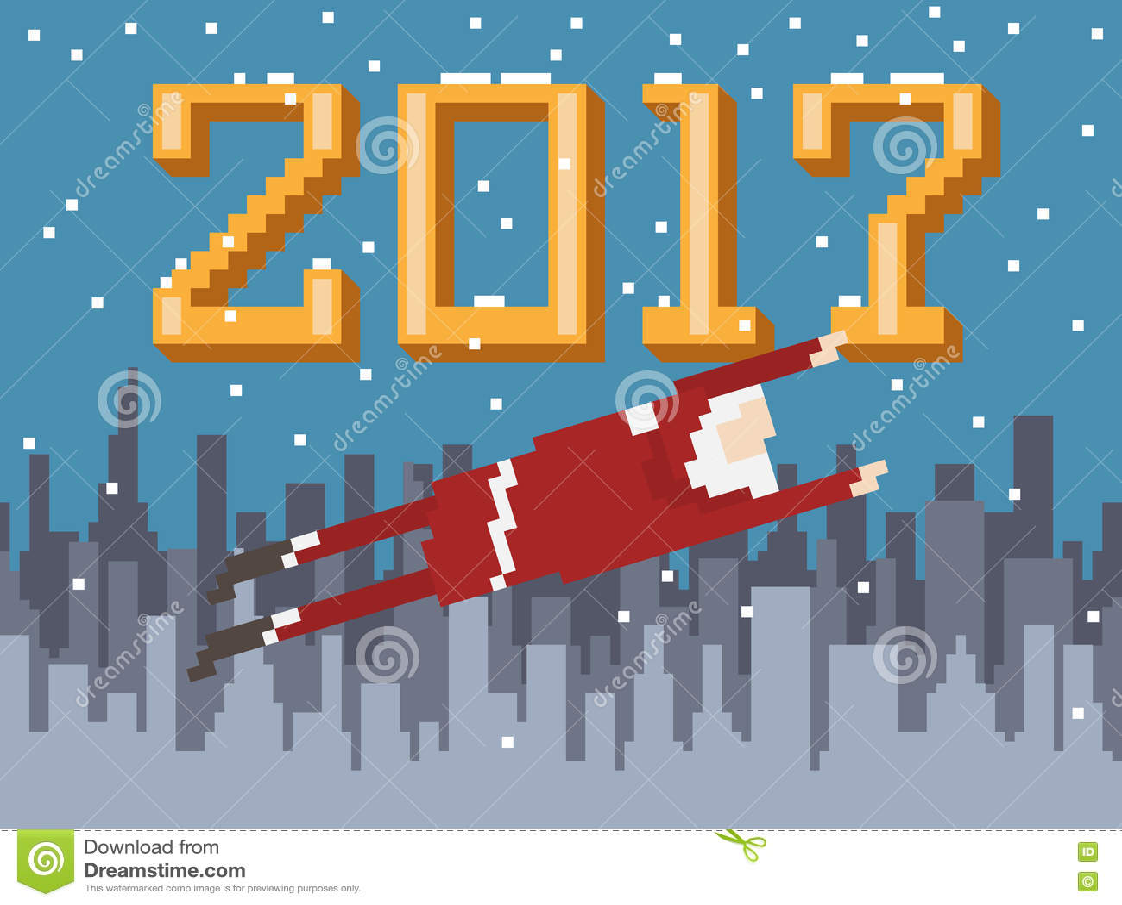 Carte Postale De Nouvelle Année D'art De Pixel Avec Piloter Santa Illustration de Vecteur ...