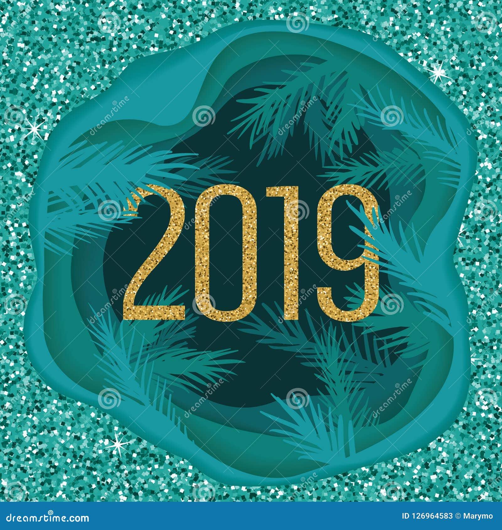 Carte postale de papier coupée posée de Noël avec des branches d arbre et scintiller 2019 Illustration de vecteur