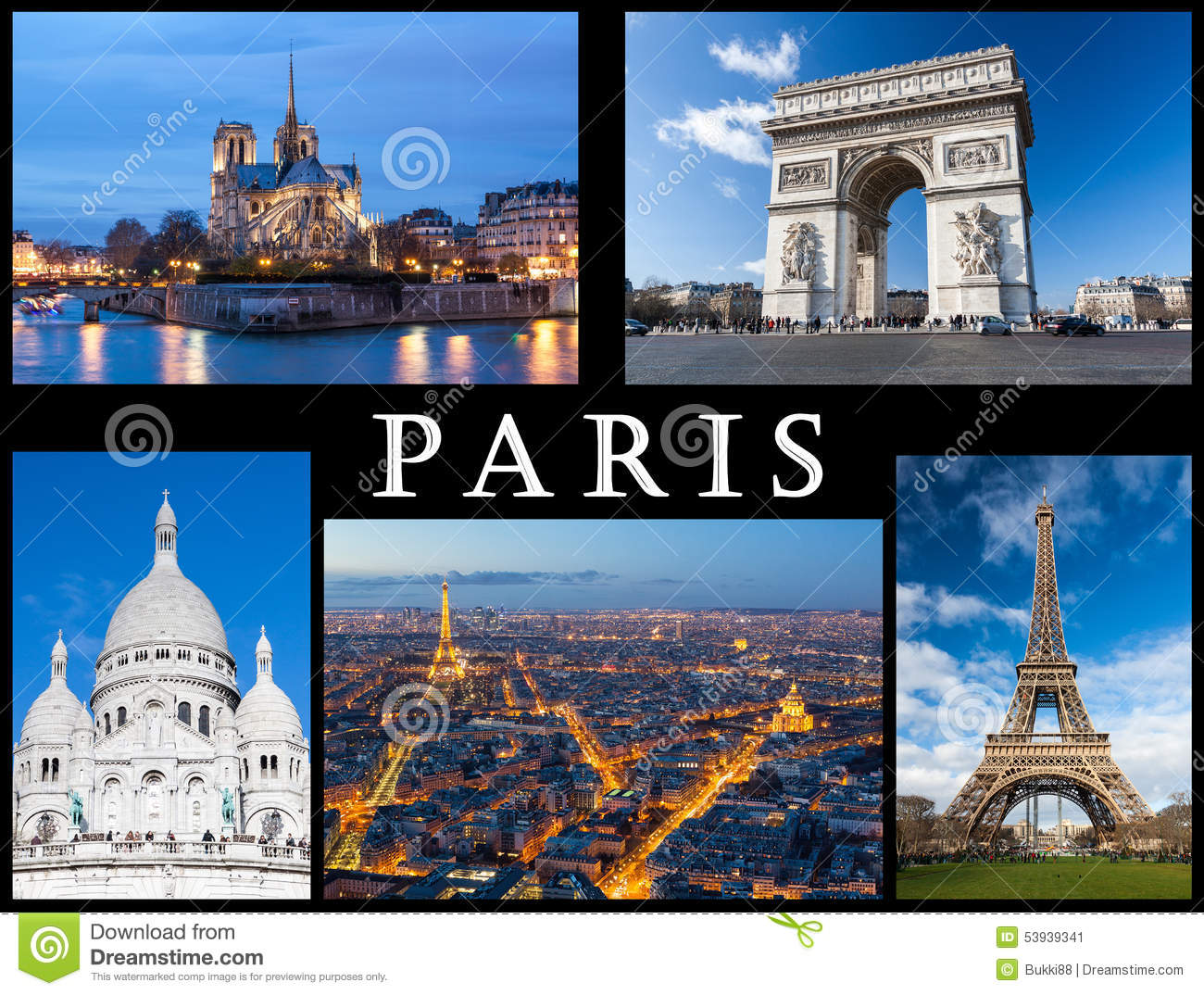 carte postale de paris notre dame tour eiffel basilique de coeur sacr arc de triumph et un. Black Bedroom Furniture Sets. Home Design Ideas