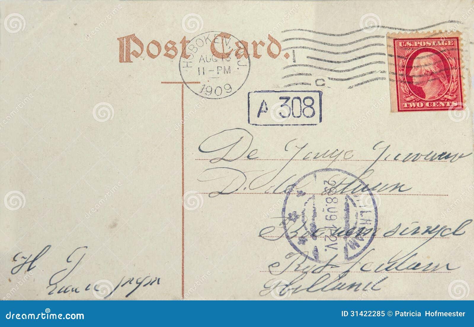 Carte postale de vintage avec le timbre-poste et l adresse américains dans Rott