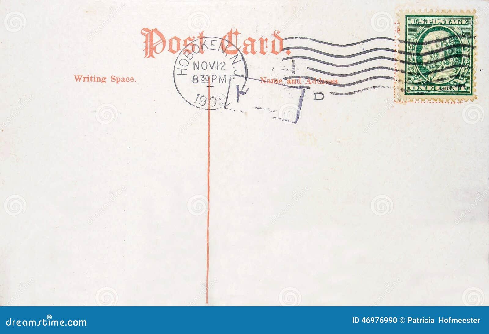 carte postale usa timbre