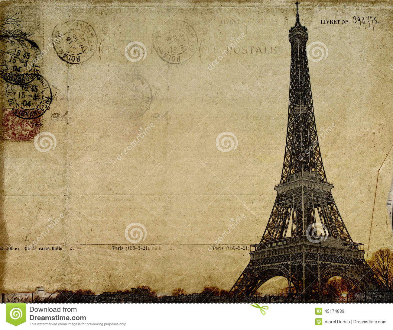Carte Postale De Vintage De Paris Illustration Stock