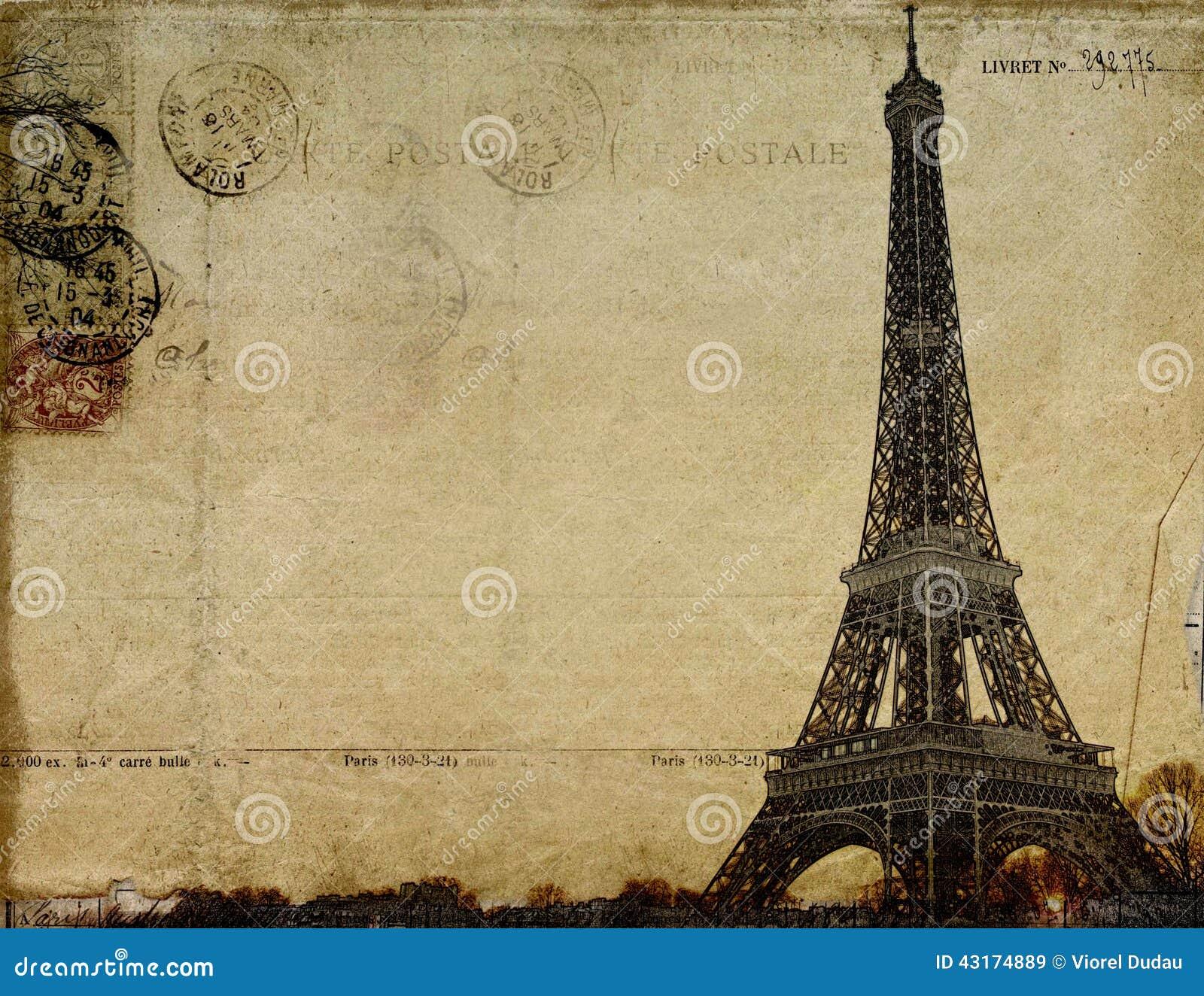 carte postale de vintage de paris illustration stock image 43174889. Black Bedroom Furniture Sets. Home Design Ideas