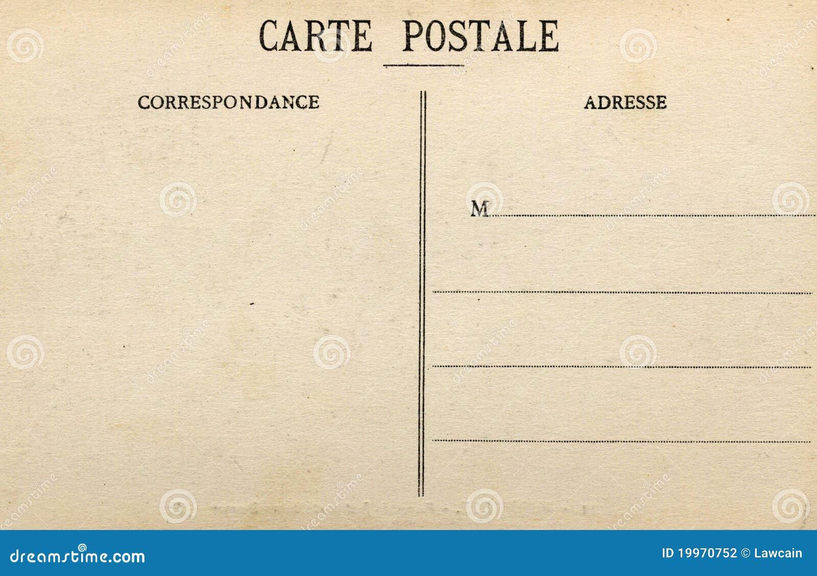 Carte Postale Francaise.Carte Postale Francaise Blanc Photo Stock Image Du Vieux