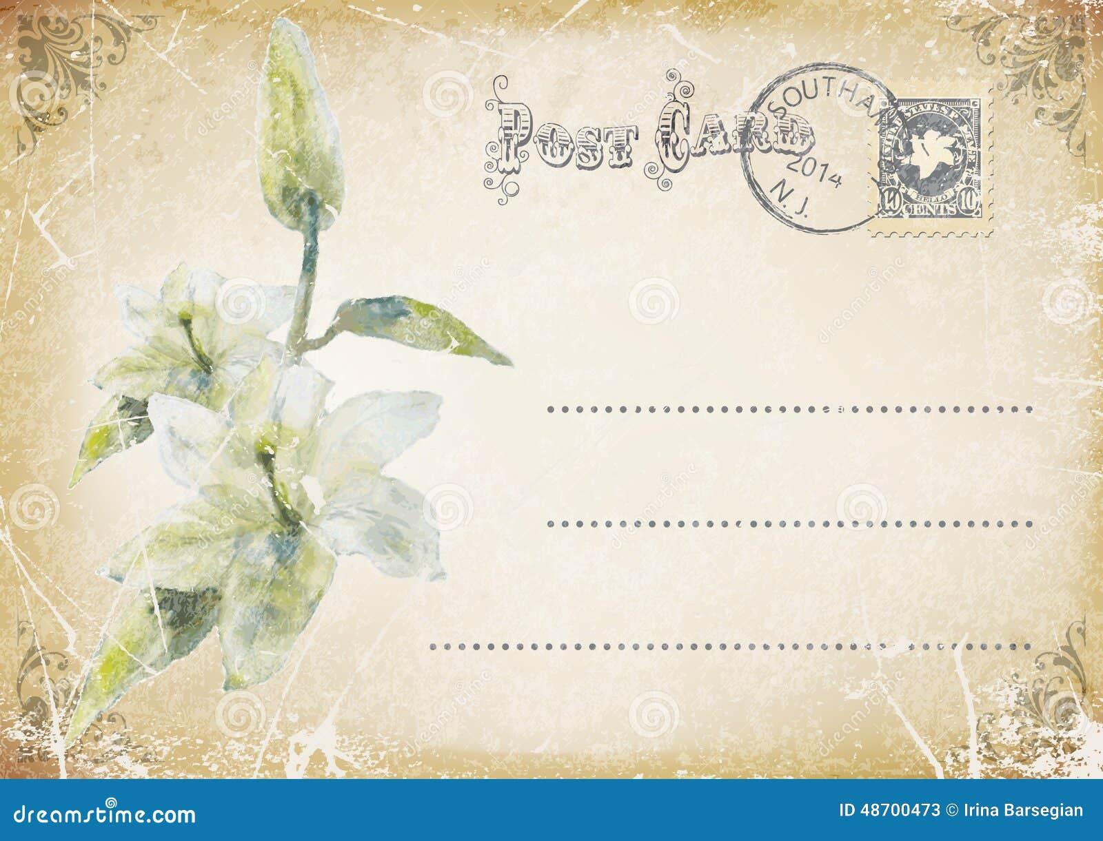 Carte postale grunge de vintage avec la fleur Illustration