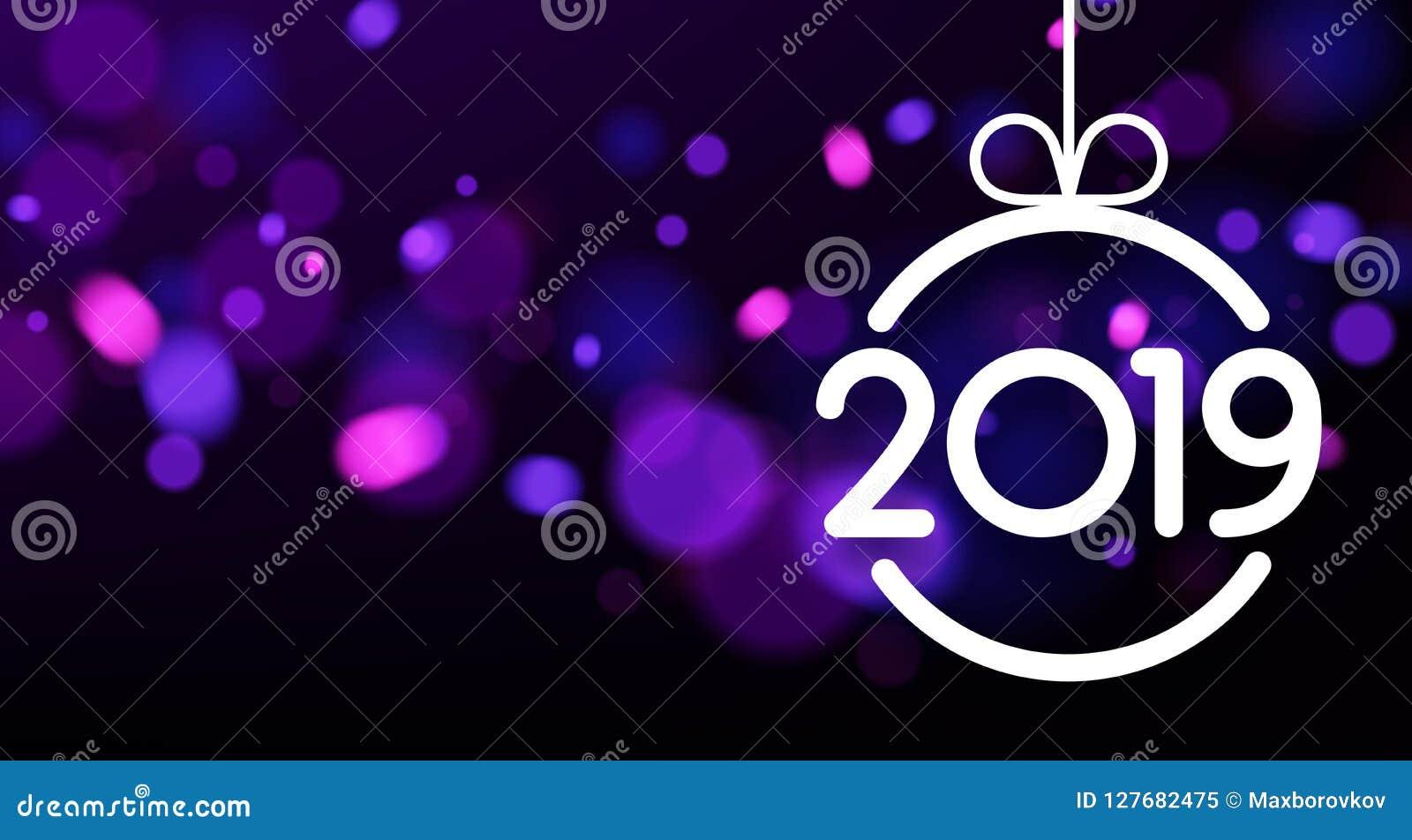 Carte pourpre de nouvelle année du résumé 2019 avec la boule de Noël