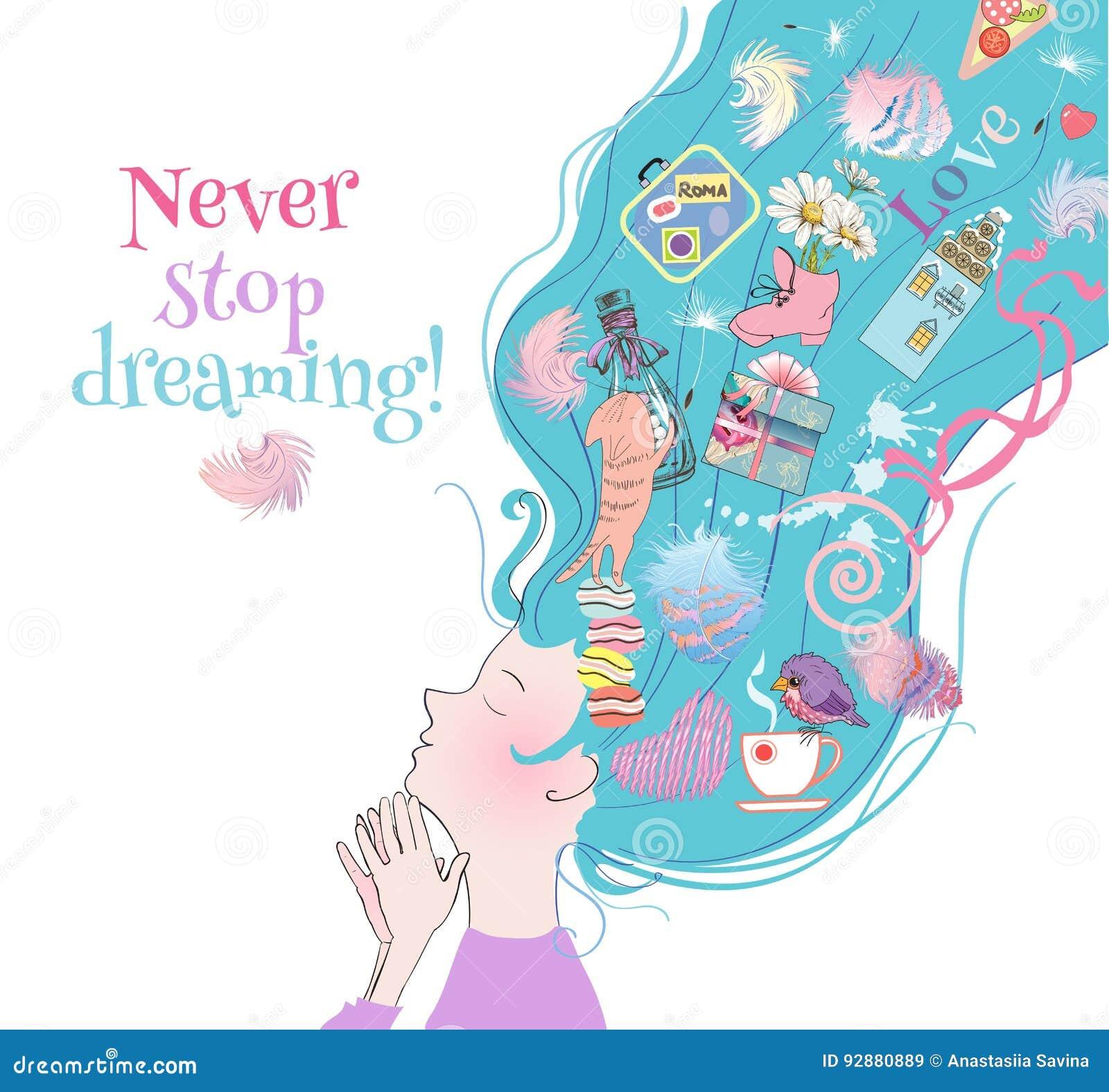 Carte rêveuse de fille