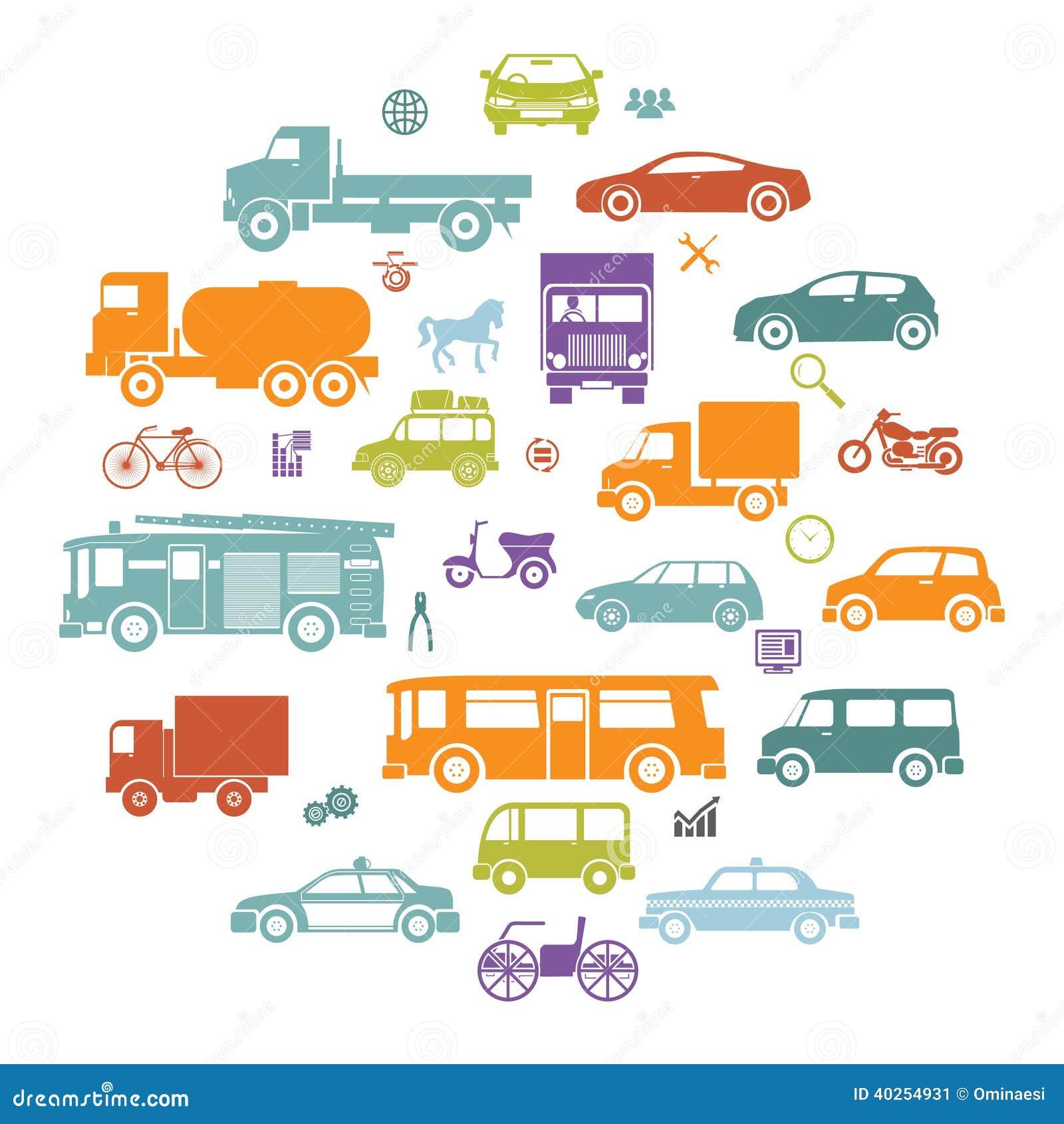 Carte ronde avec de rétros symboles de transport d icônes de silhouette de voitures plates et de véhicules