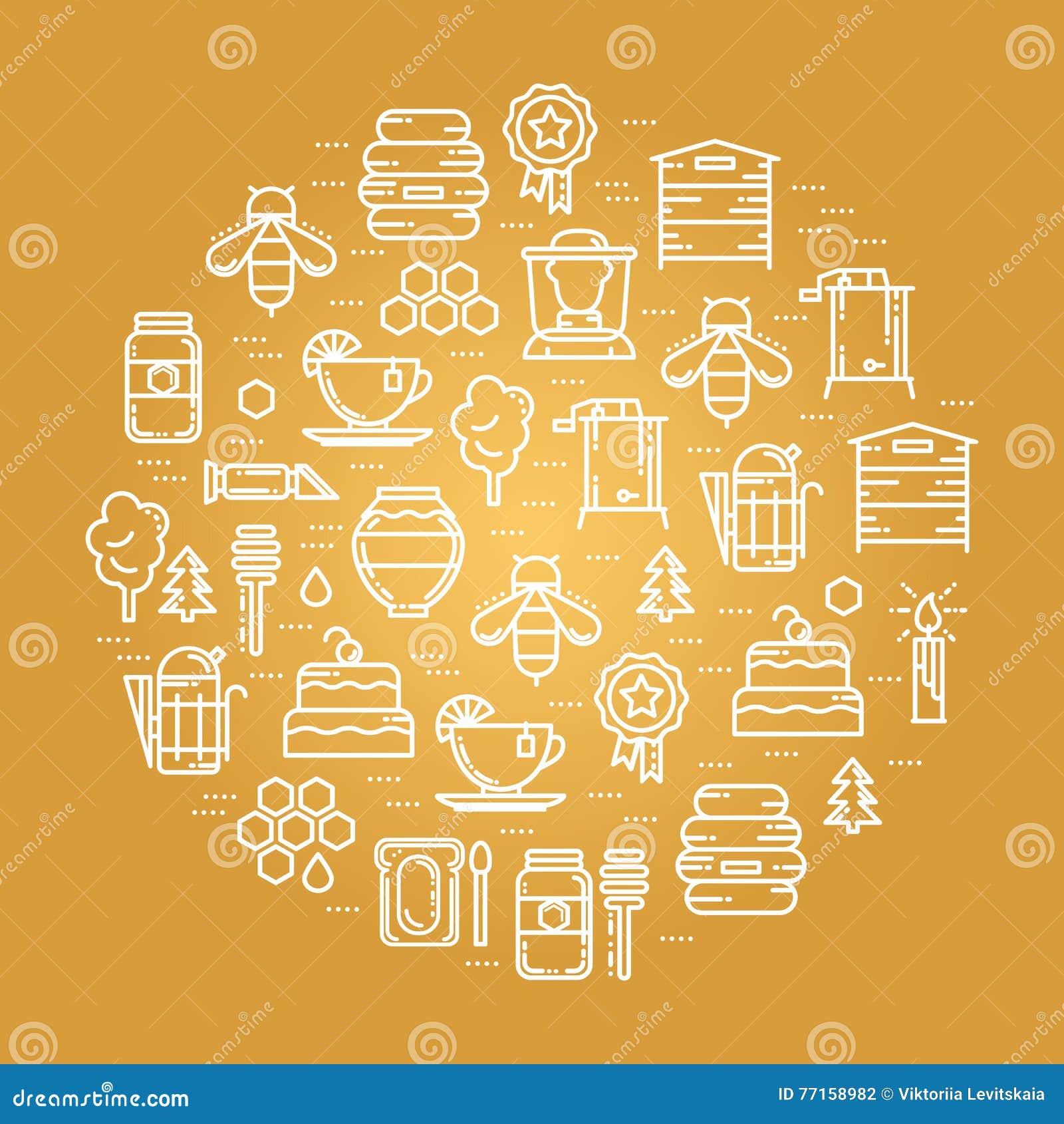 Carte ronde avec le rucher, miel faisant la ligne mince icônes réglées