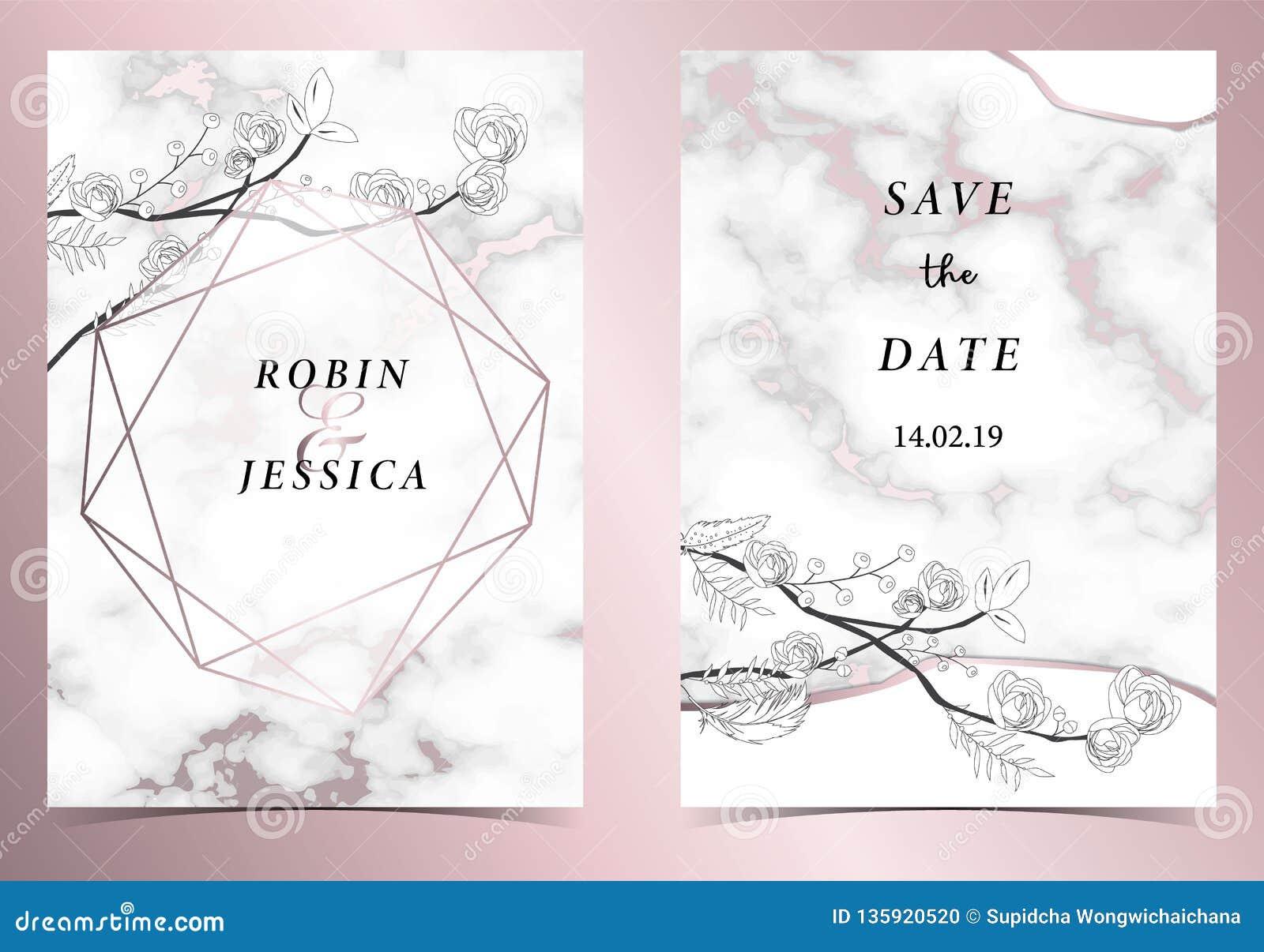 Carte Rose D Invitation De Mariage D Ensemble D Or De La