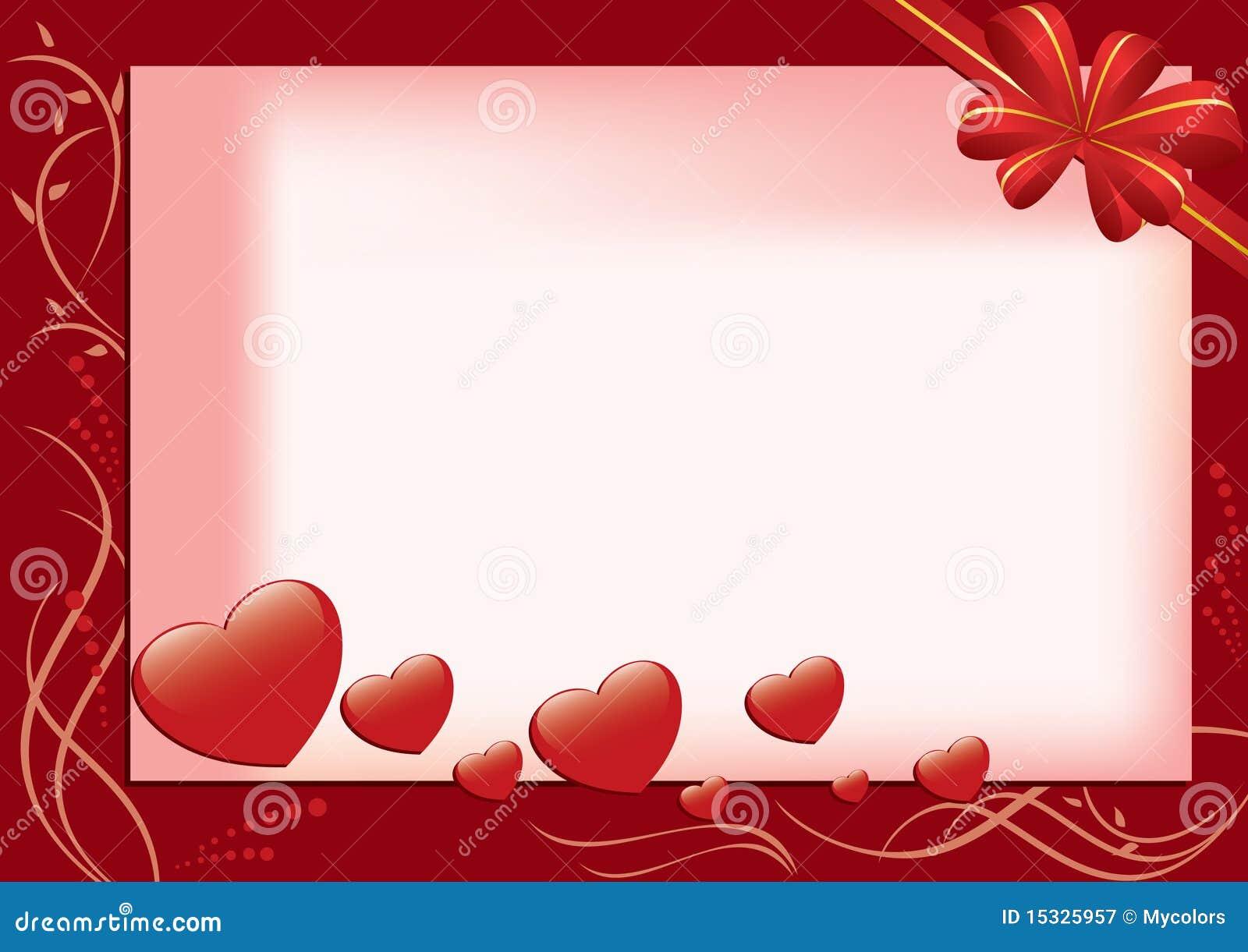 Carte Rouge Avec Les Coeurs Et La Flore Illustration De