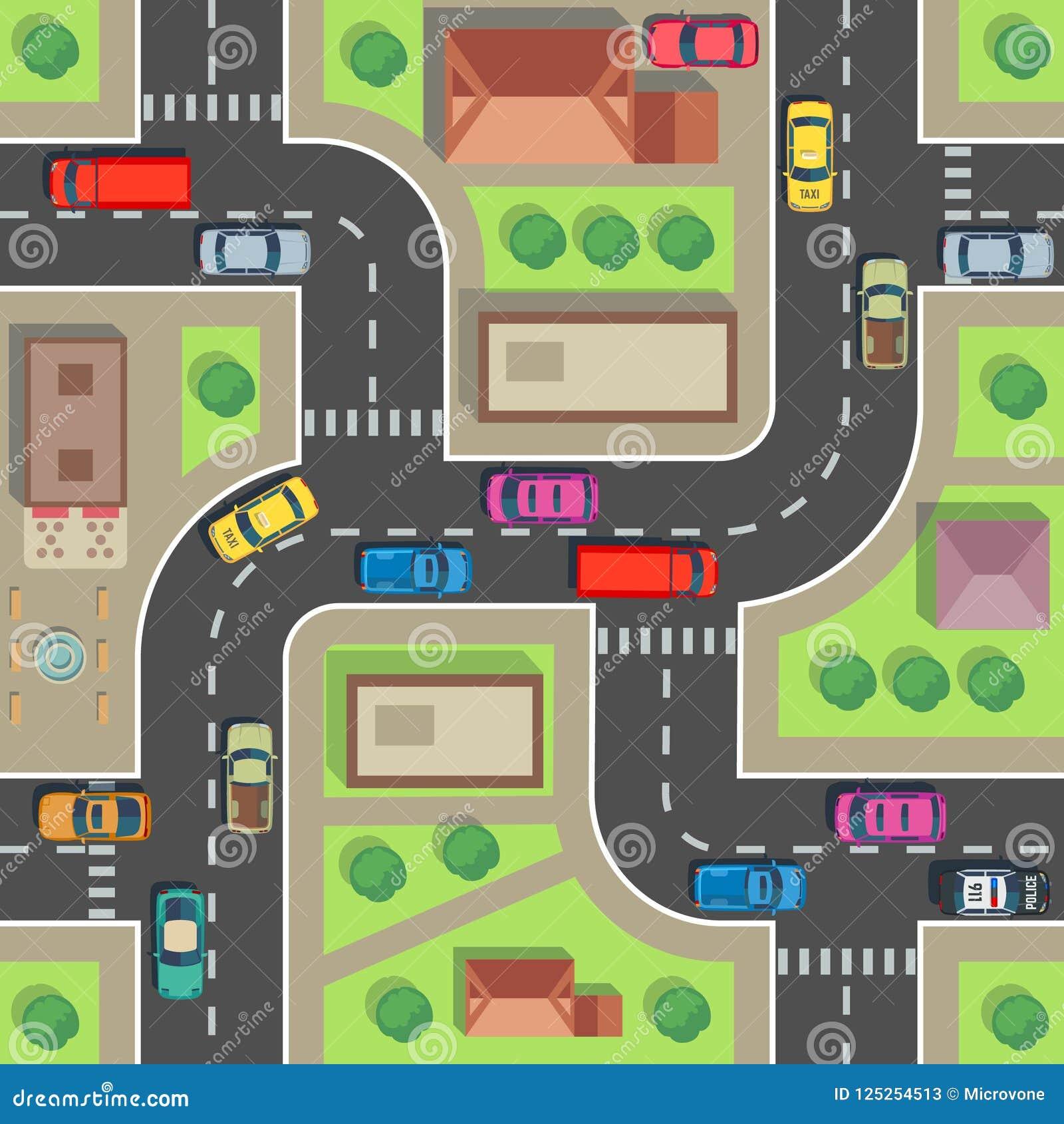 Carte sans joint de ville Bâtiment et rue de vue supérieure avec des voitures et des camions Texture sans fin de vecteur urbain d