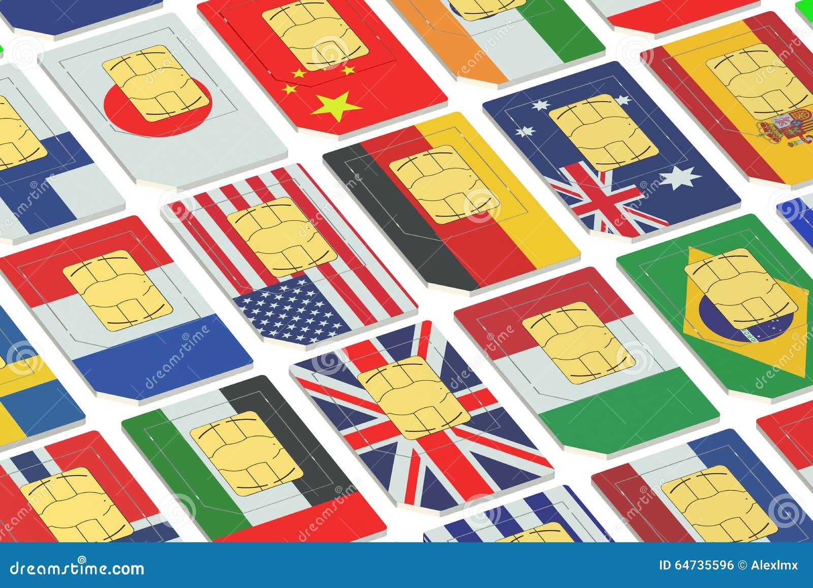 Carte SIM internazionali con le bandiere