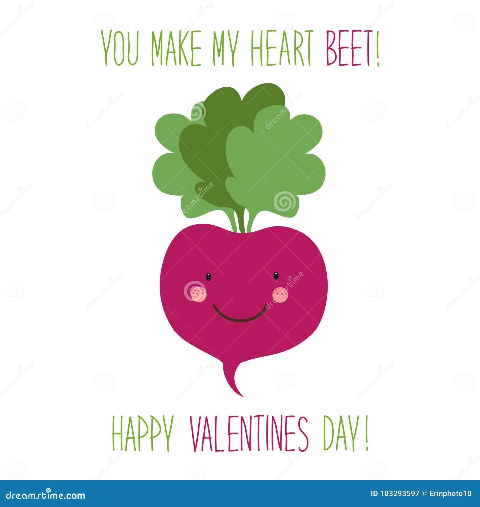 Carte tirée par la main peu commune mignonne de jour de valentines avec les personnages de dessin animé drôles de la betterave