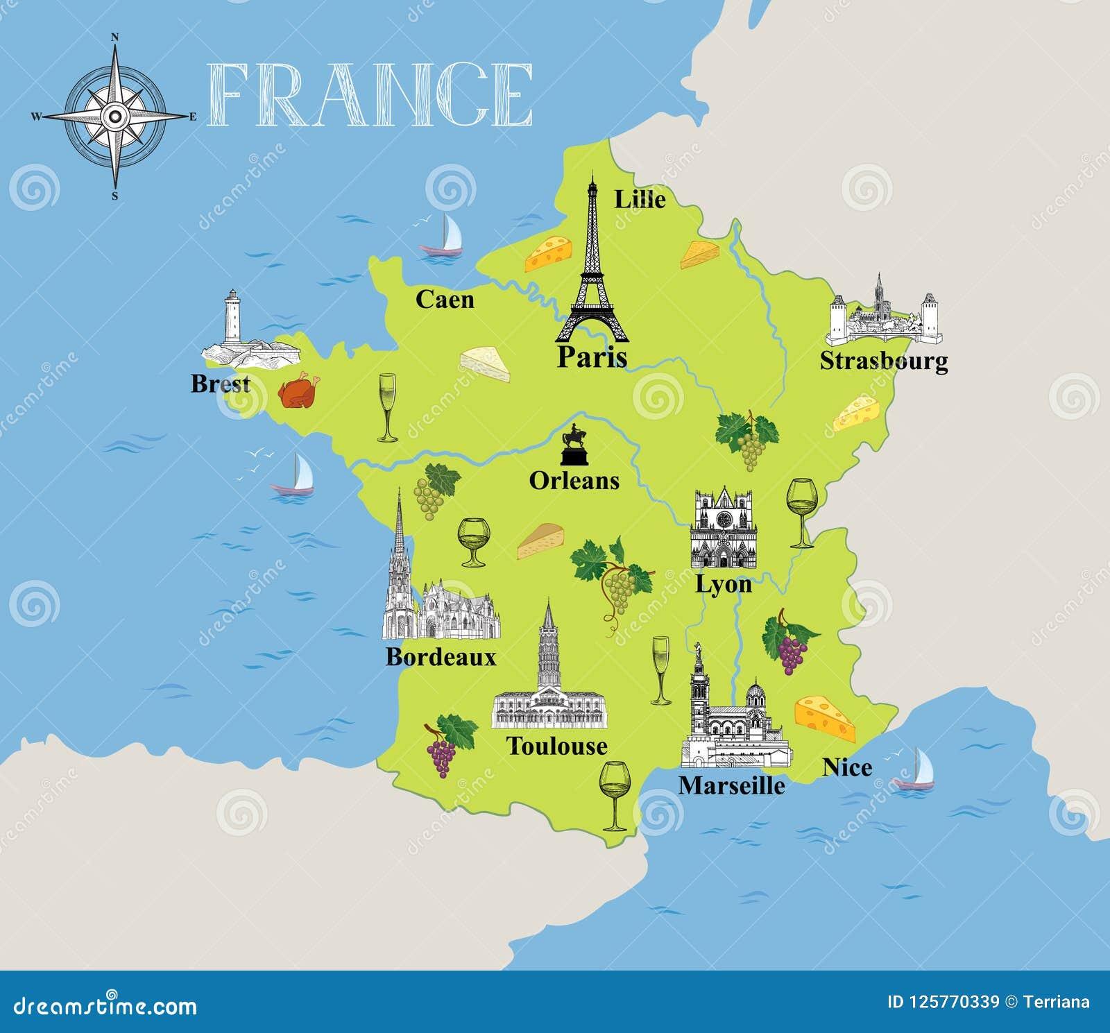 Carte Touristique De La France Fond Gastronomique De ...