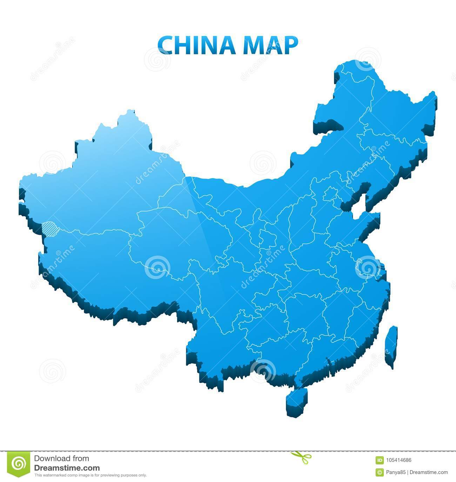 Carte Chine Frontiere.Carte Tridimensionnelle Fortement Detaillee De La Chine Avec