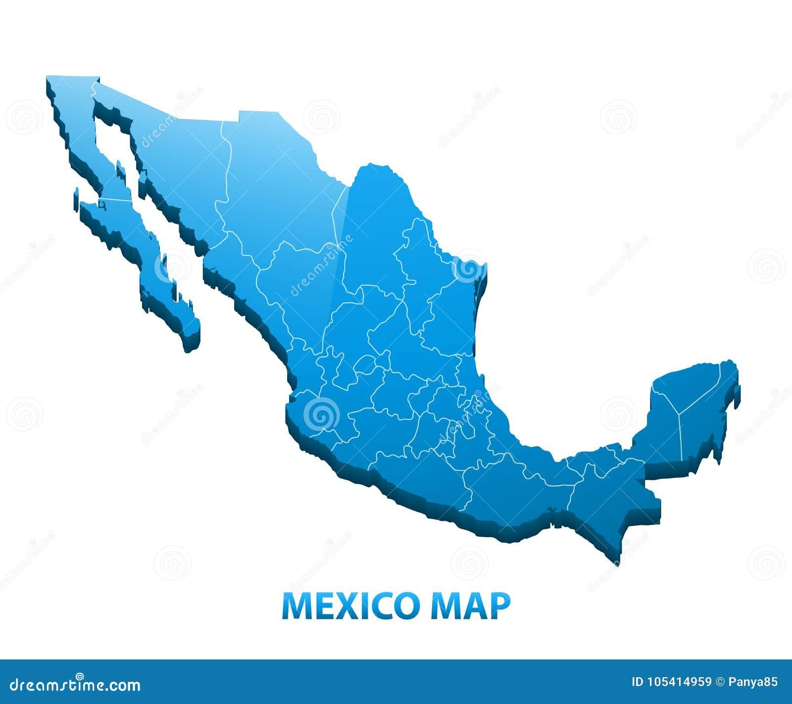 Carte tridimensionnelle fortement détaillée du Mexique avec la frontière de régions