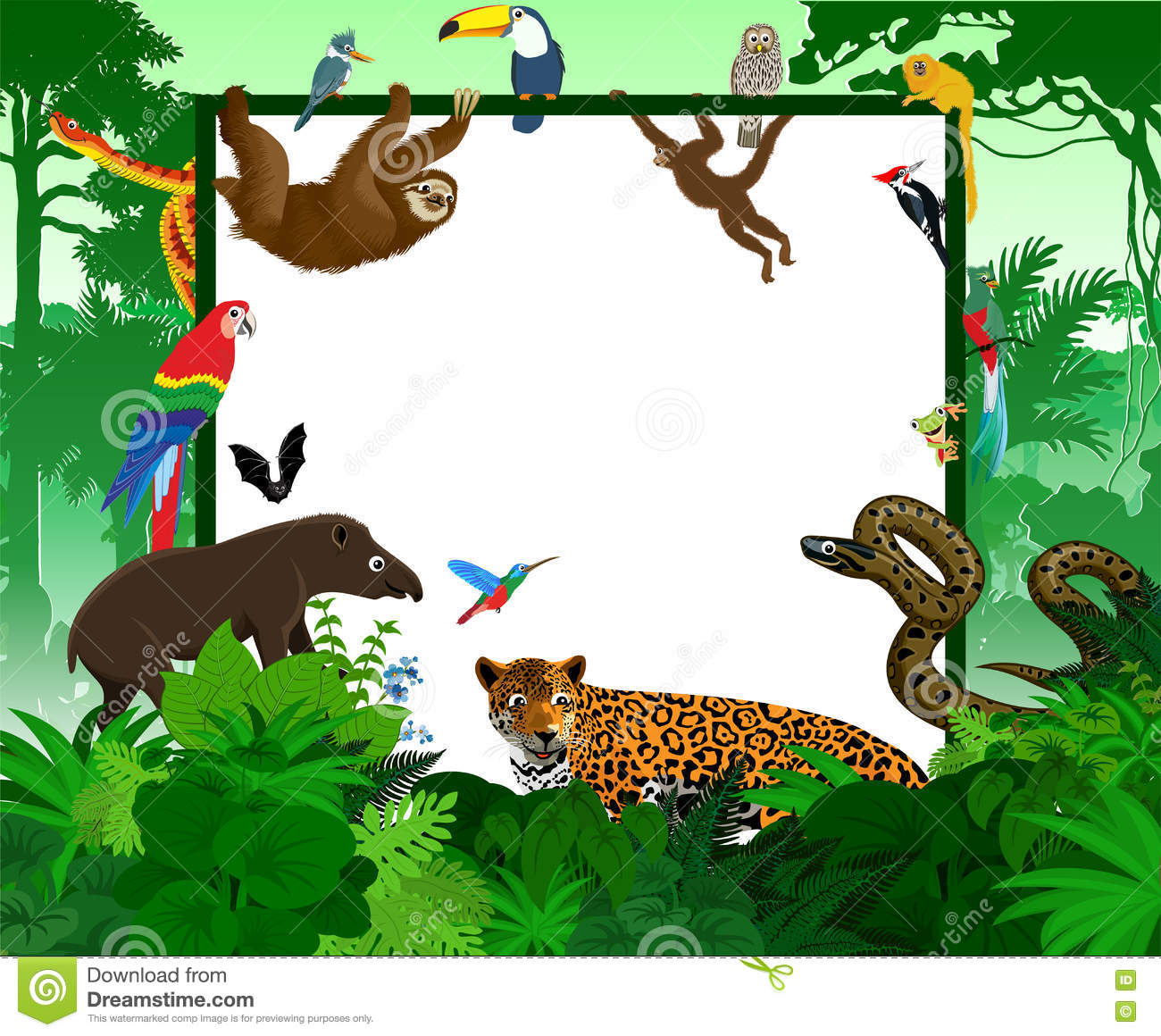 Carte tropicale de vecteur avec des animaux de jungle Illustration de forêt tropicale de style de jungle