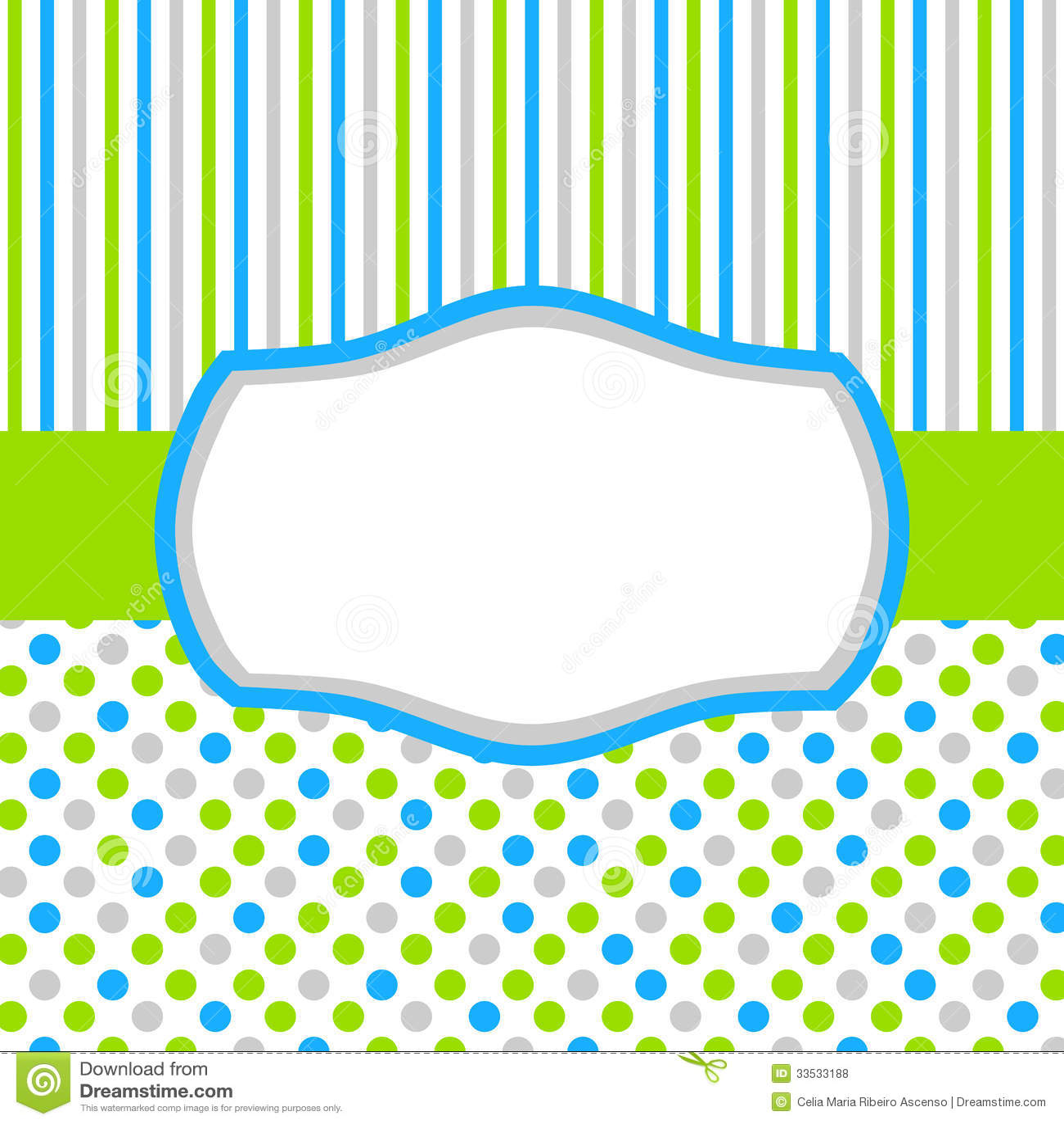 Carte vert-bleu d invitation avec des points et des rayures de polka