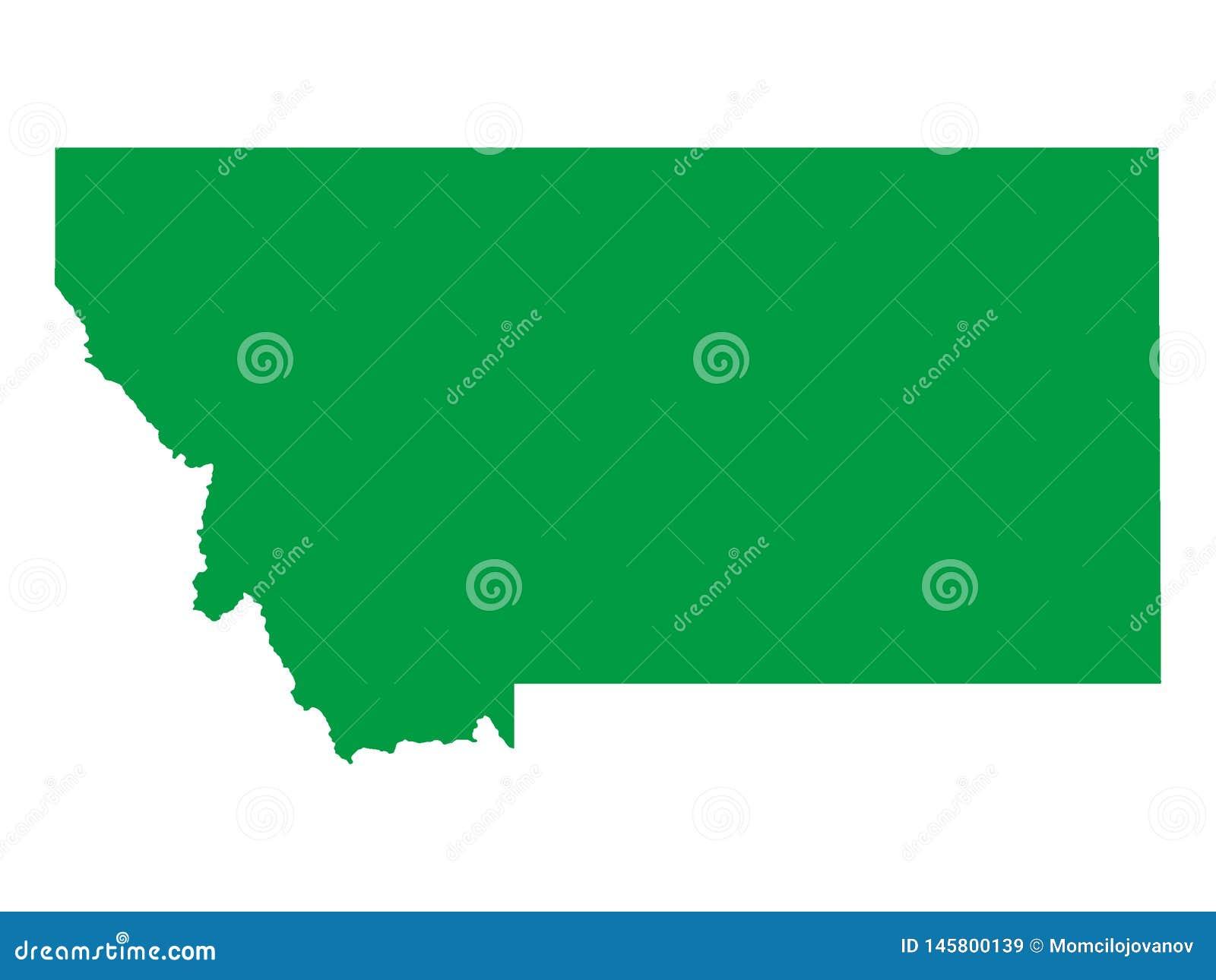 Carte Verte Détat Dusa Du Montana Illustration De Vecteur
