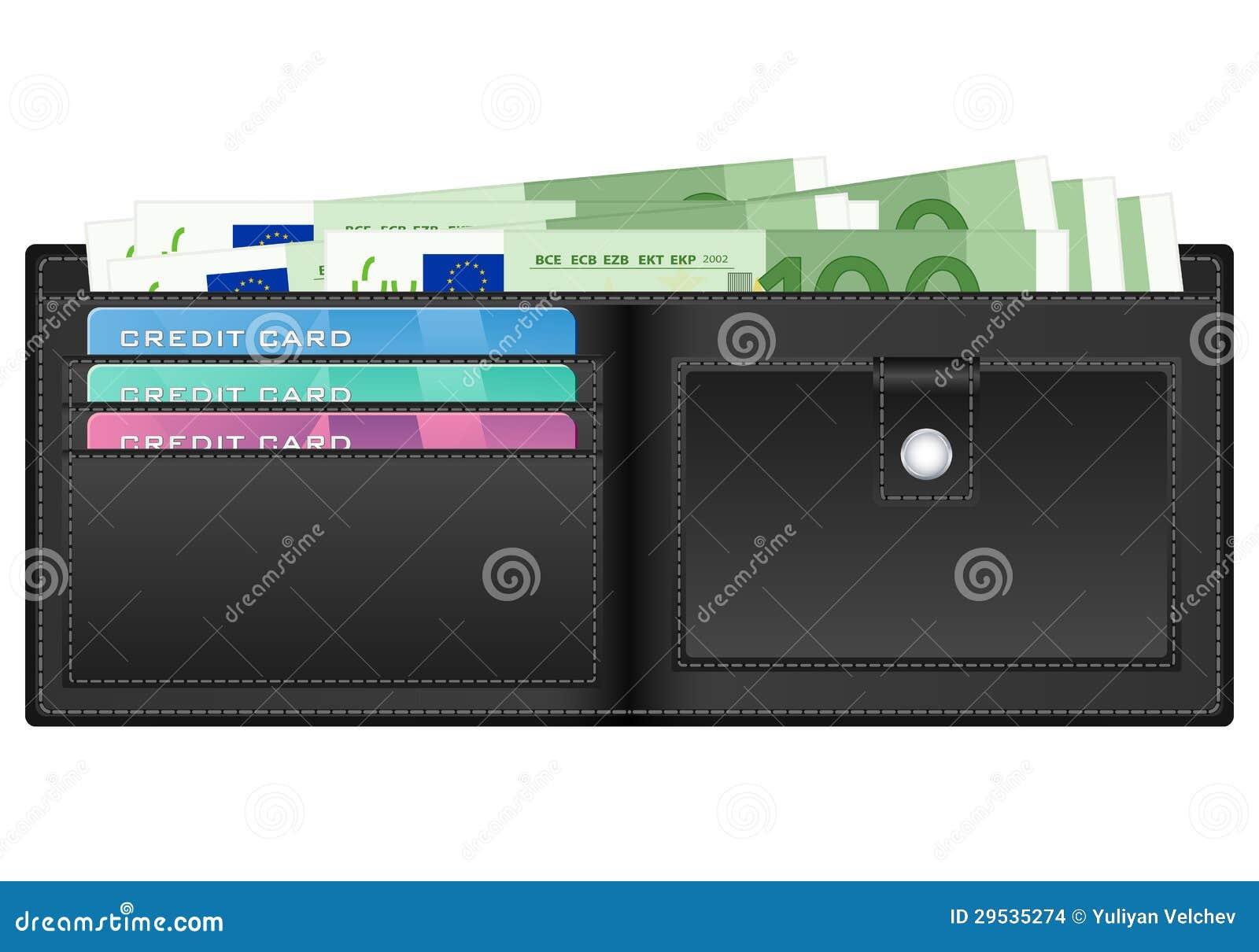 Carteira com as cem cédulas do euro