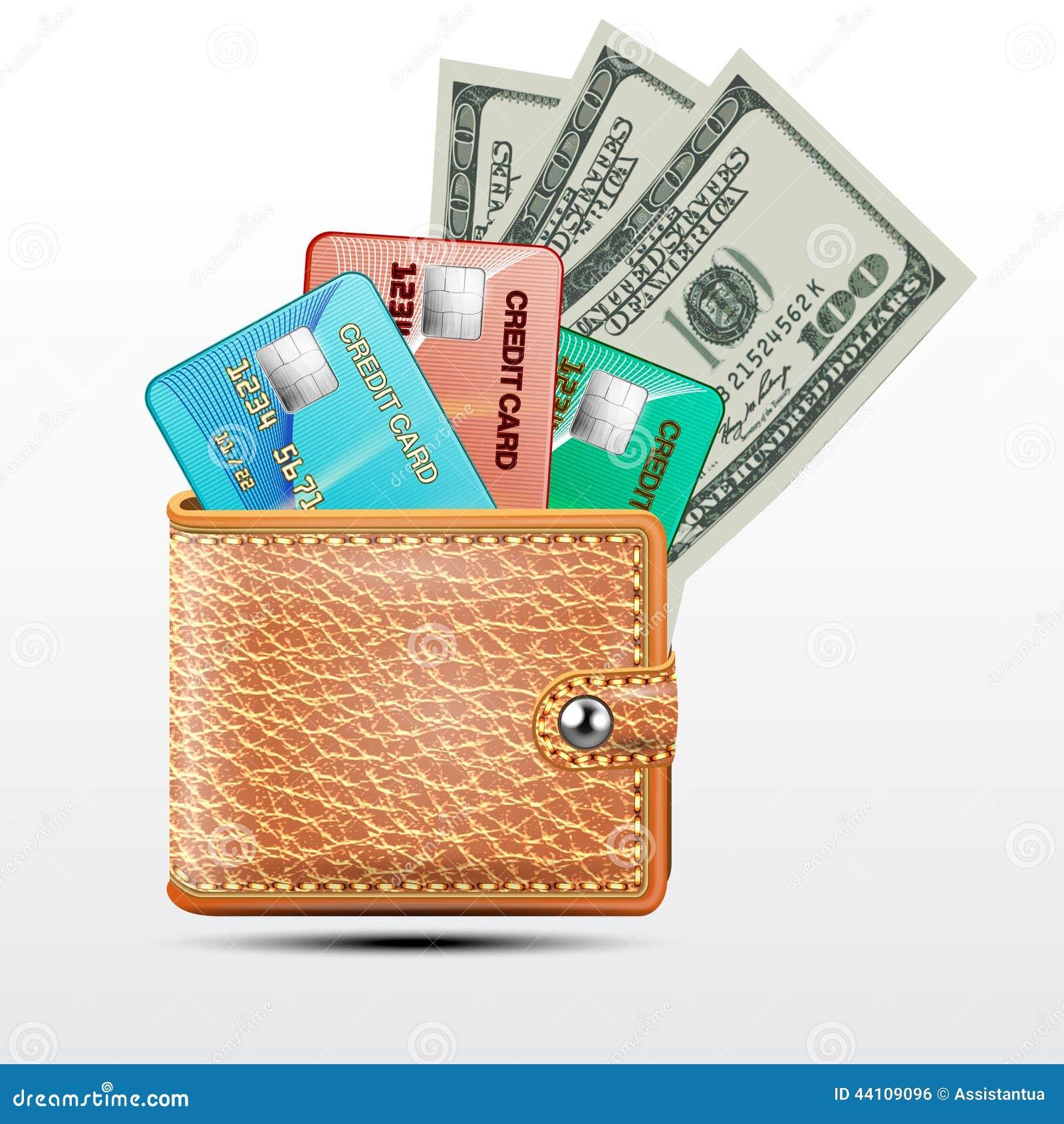 Carteira de couro com cartões de crédito, dólares dos EUA