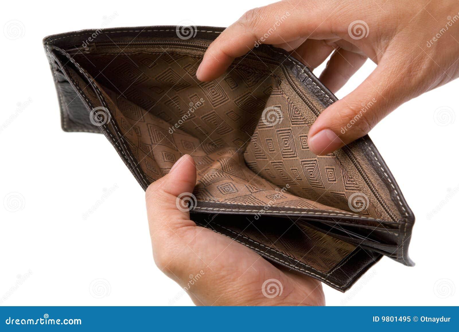Carteira sem o dinheiro para dentro
