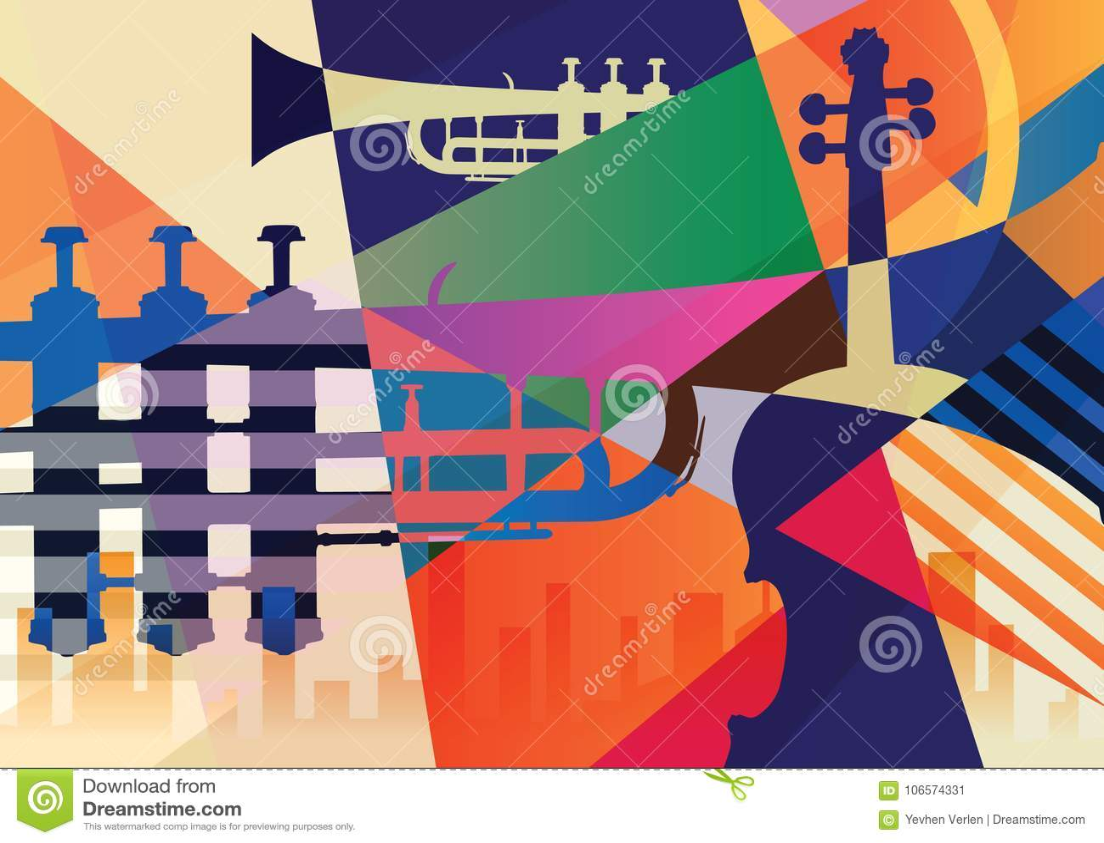 Cartel abstracto del jazz, fondo de la música
