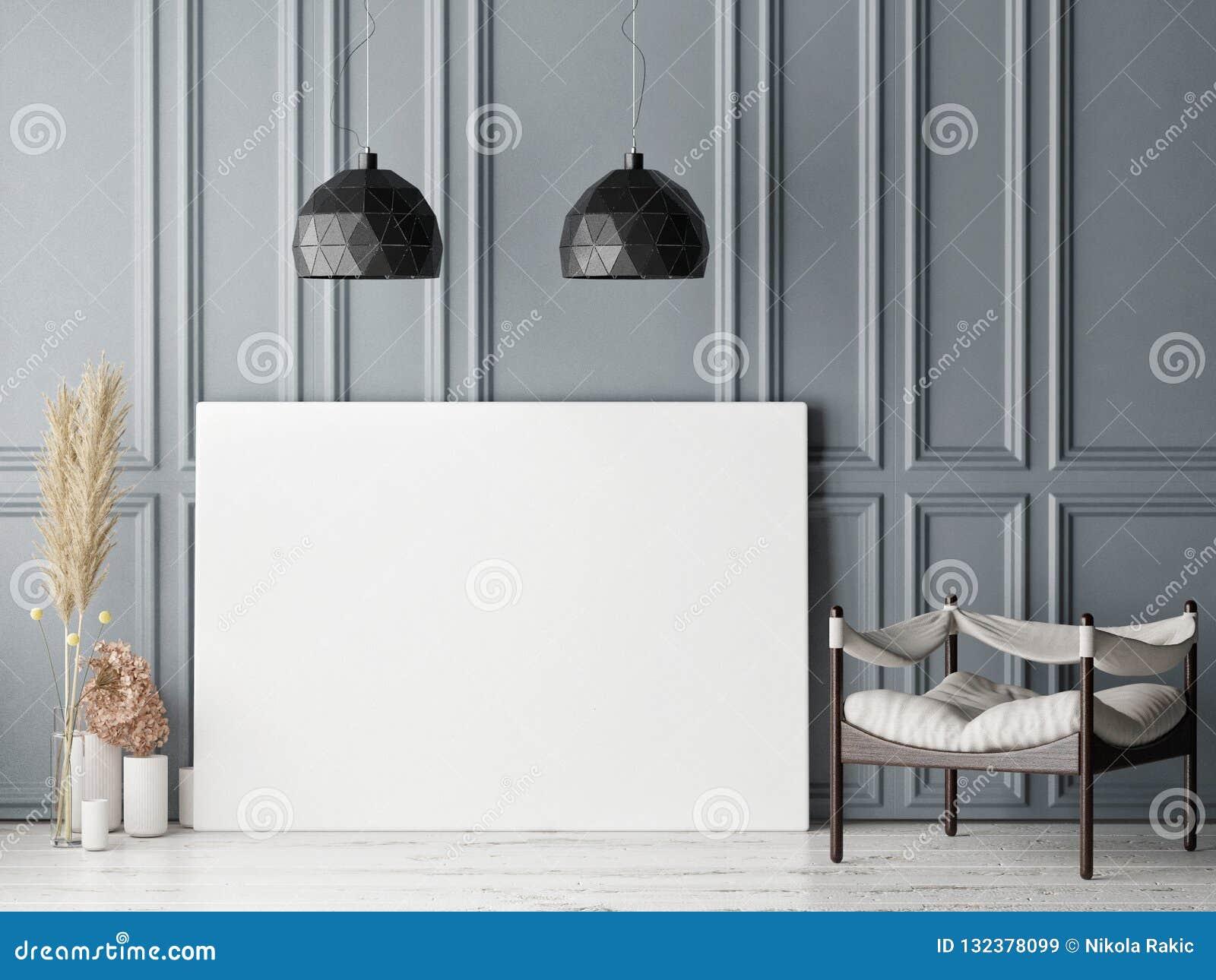 Cartel ascendente falso en fondo escandinavo de la sala de estar del inconformista